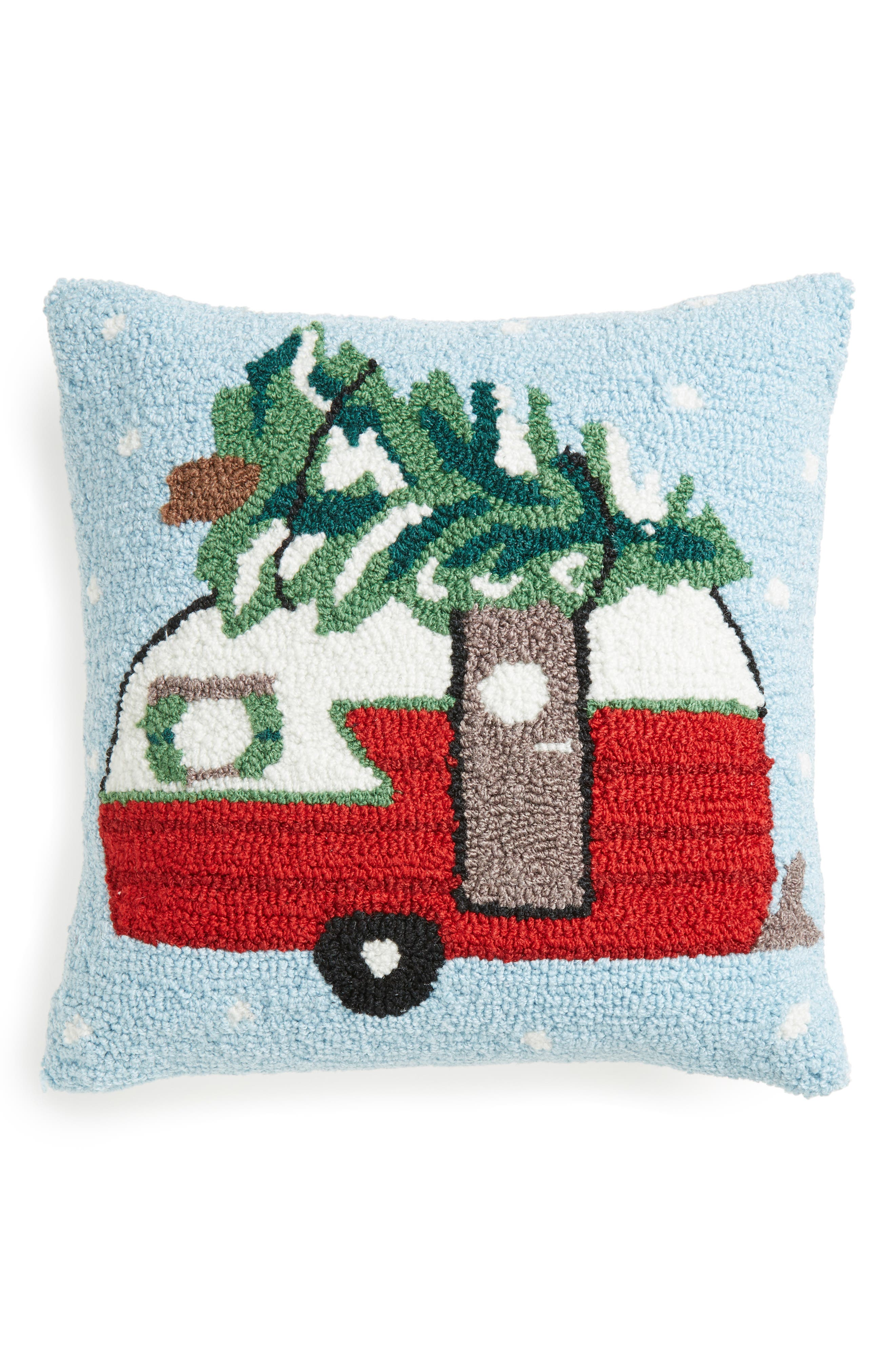 Christmas Tree Camper Hooked Accent Pillow,                         Main,                         color, Blue