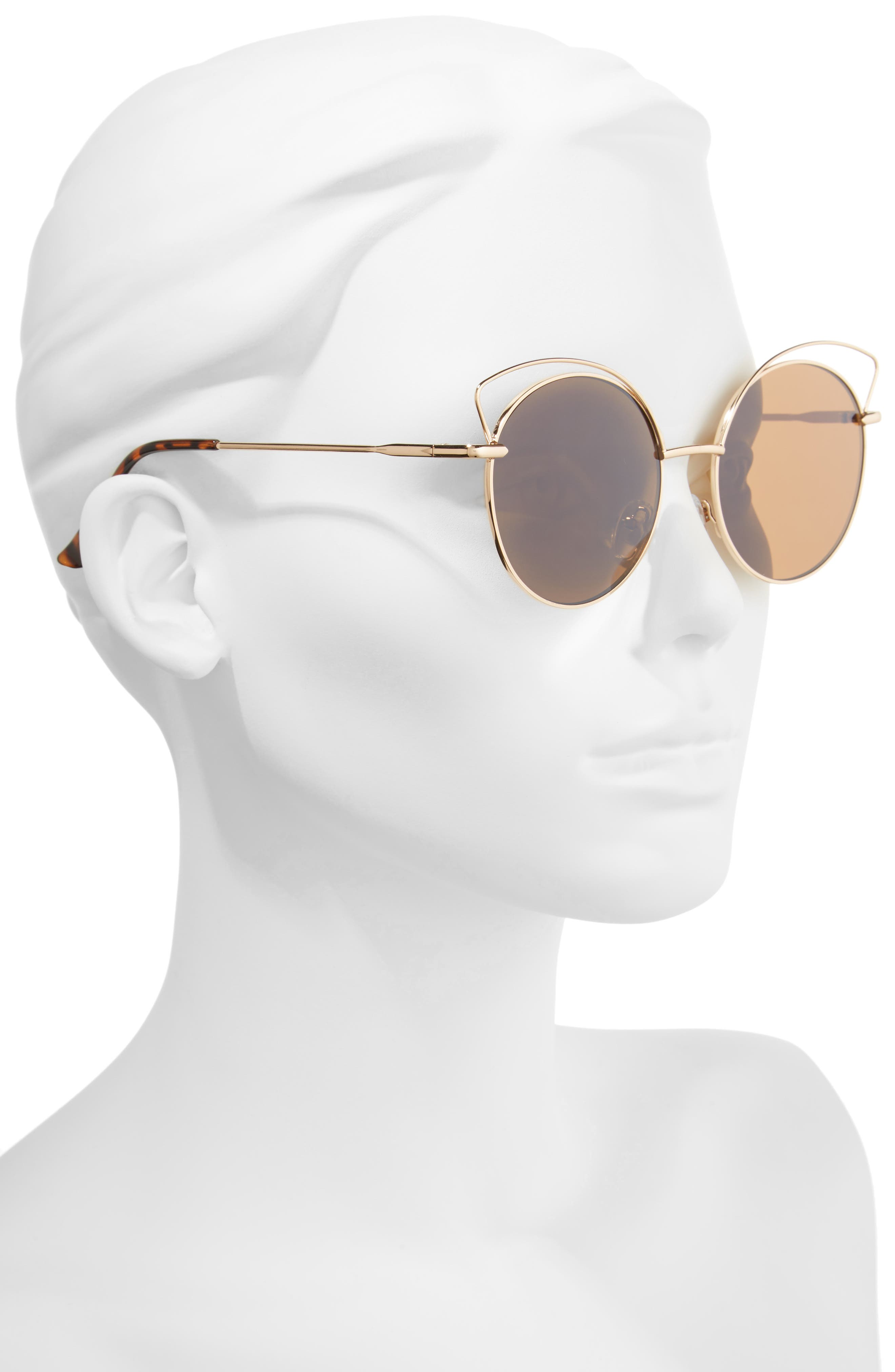Satellite 55mm Round Sunglasses,                             Alternate thumbnail 2, color,                             Gold