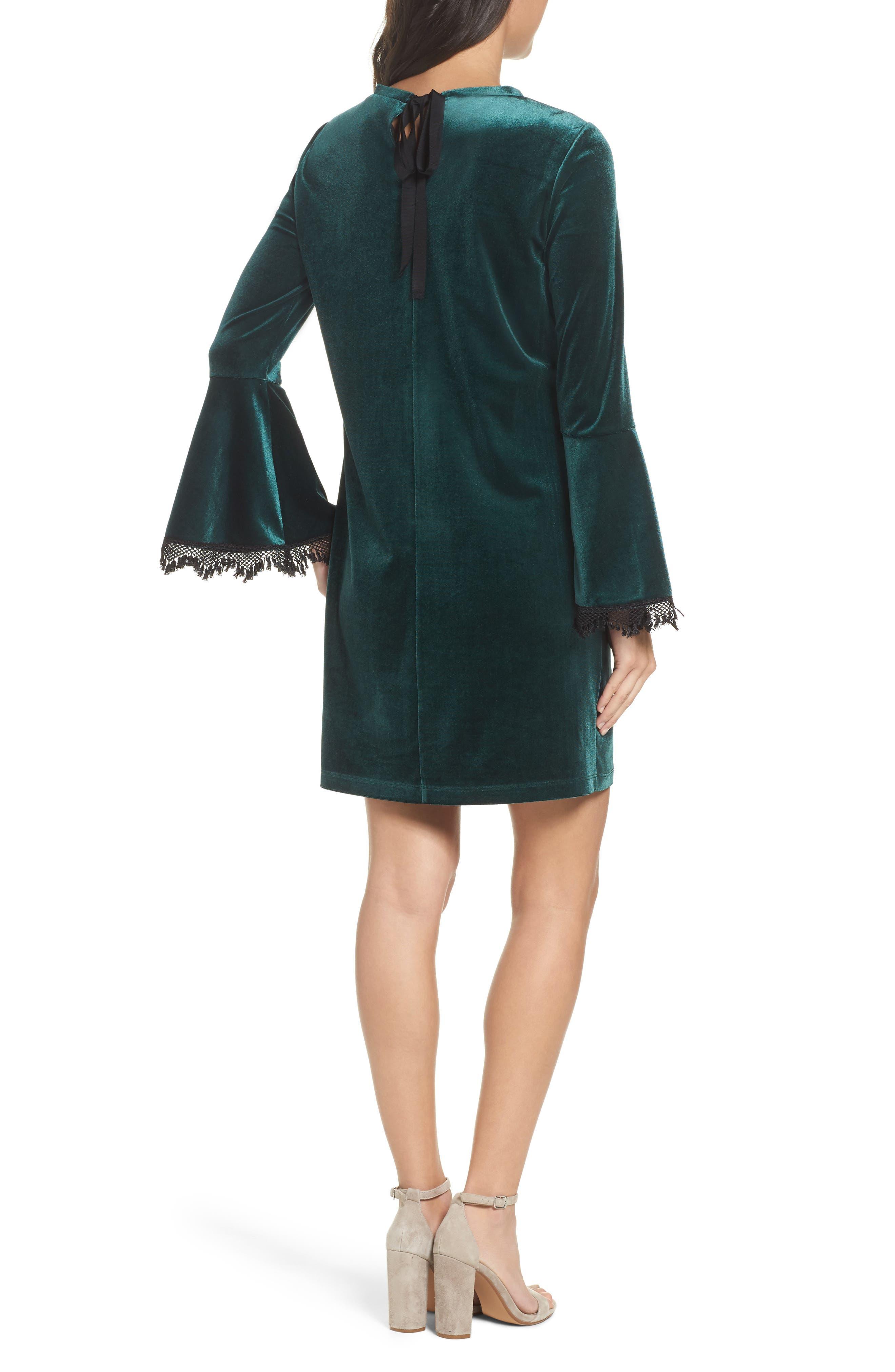 Hallie Bell Sleeve Velvet Dress,                             Alternate thumbnail 2, color,                             Bottle Green