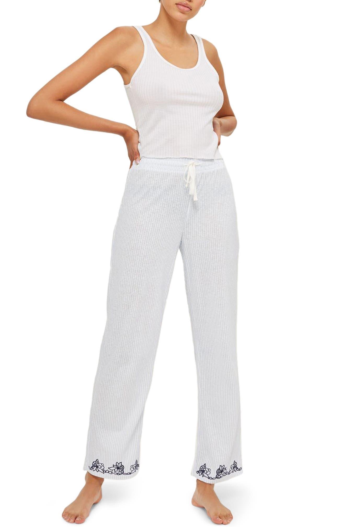 Oxford Stripe Pajama Pants,                         Main,                         color, Blue Mutli