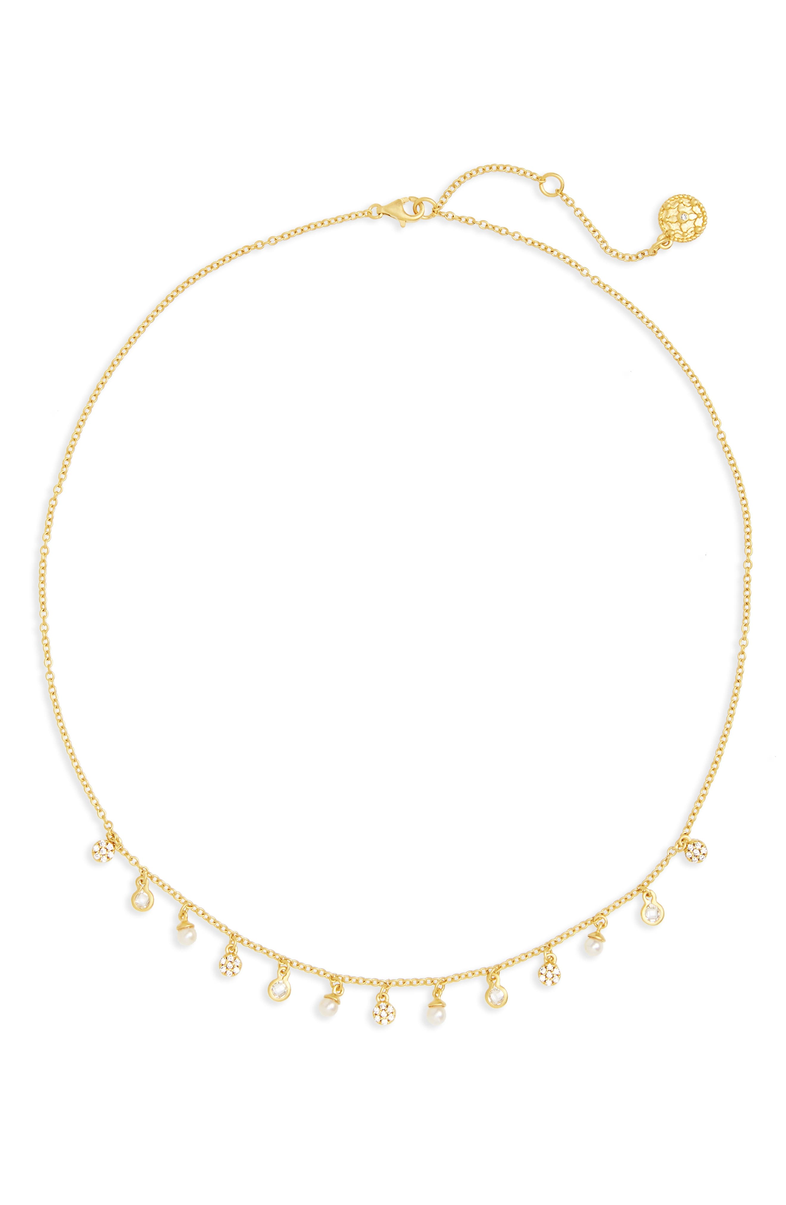 Audrey Frontal Necklace,                         Main,                         color, Gold/ Clear