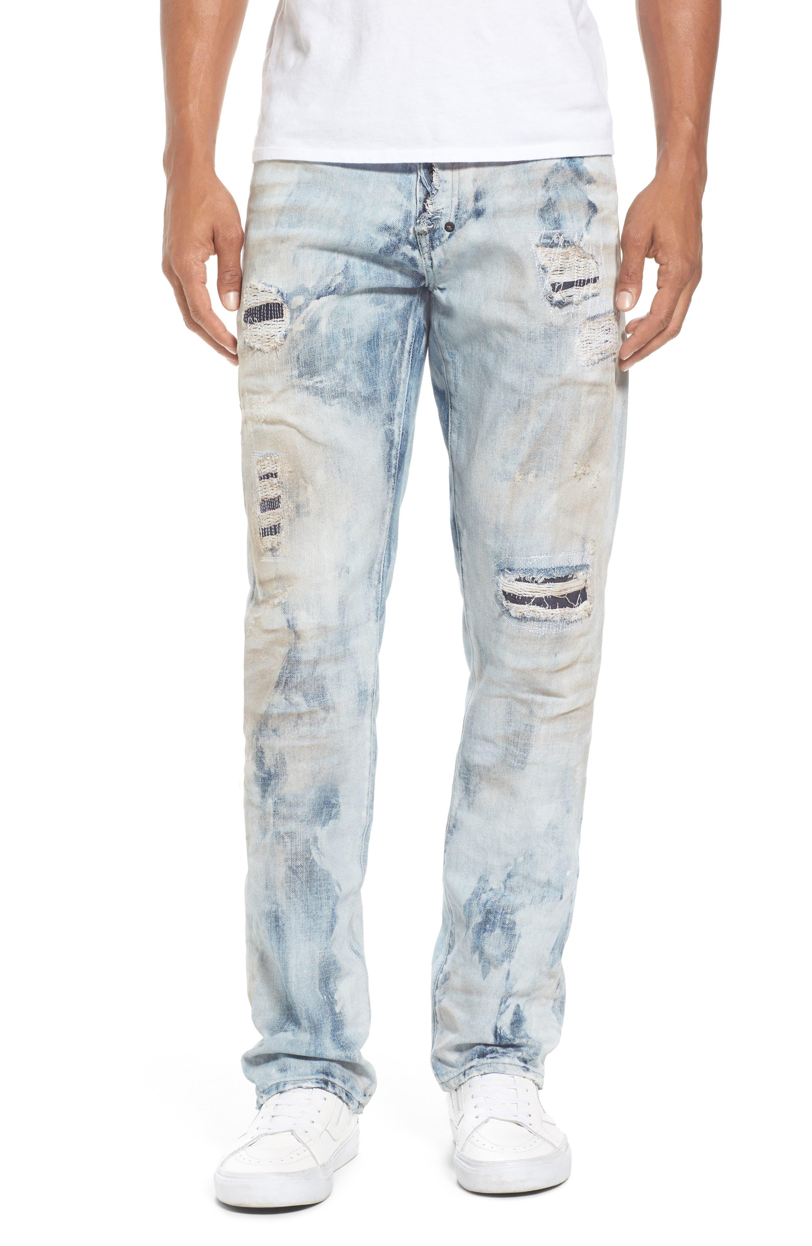 PRPS Cozy Demon Slim Fit Jeans In Dark Indigo in Cozy Light Wash