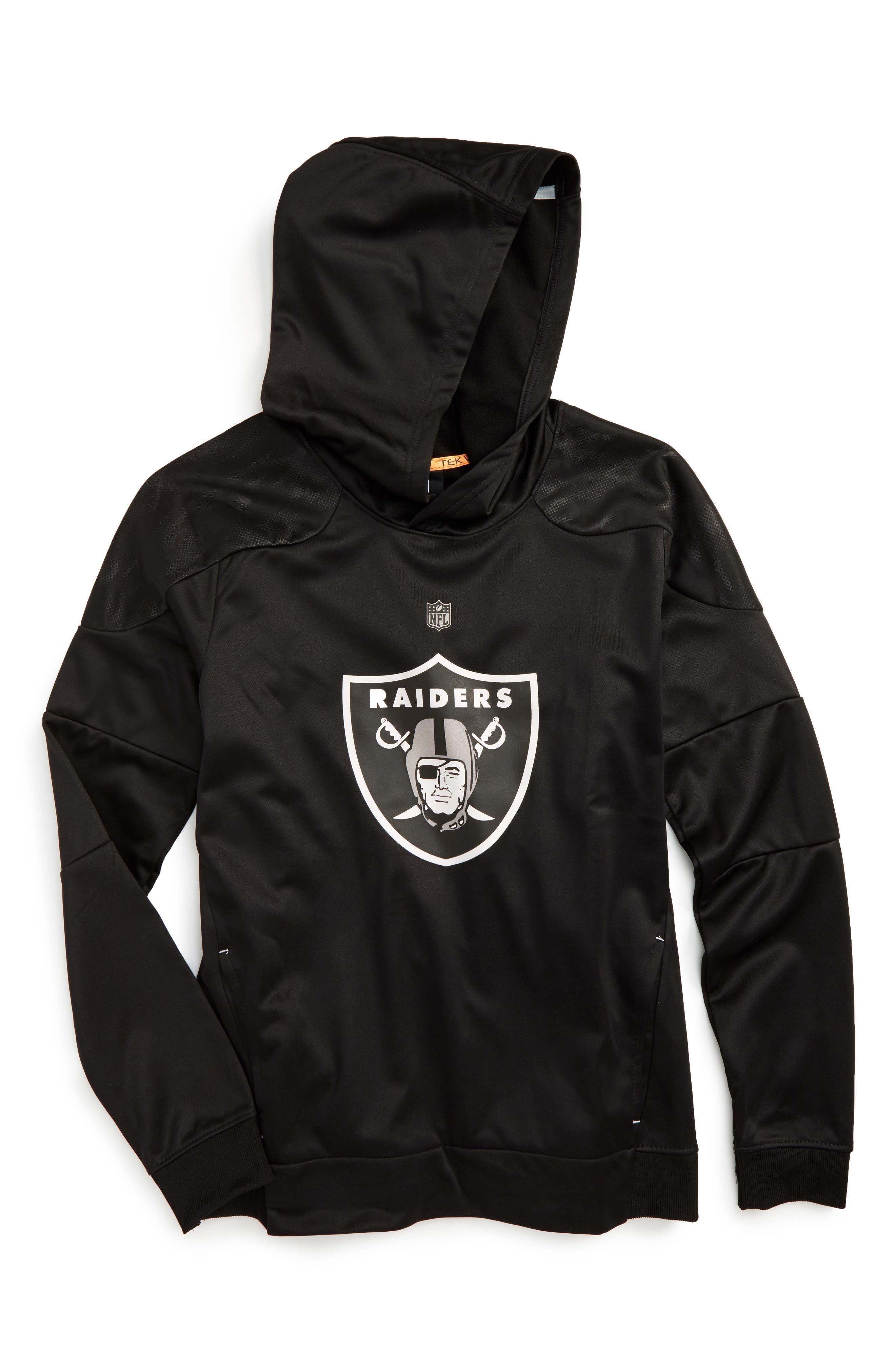 NFL Oakland Raiders Hoodie,                             Main thumbnail 1, color,                             Black