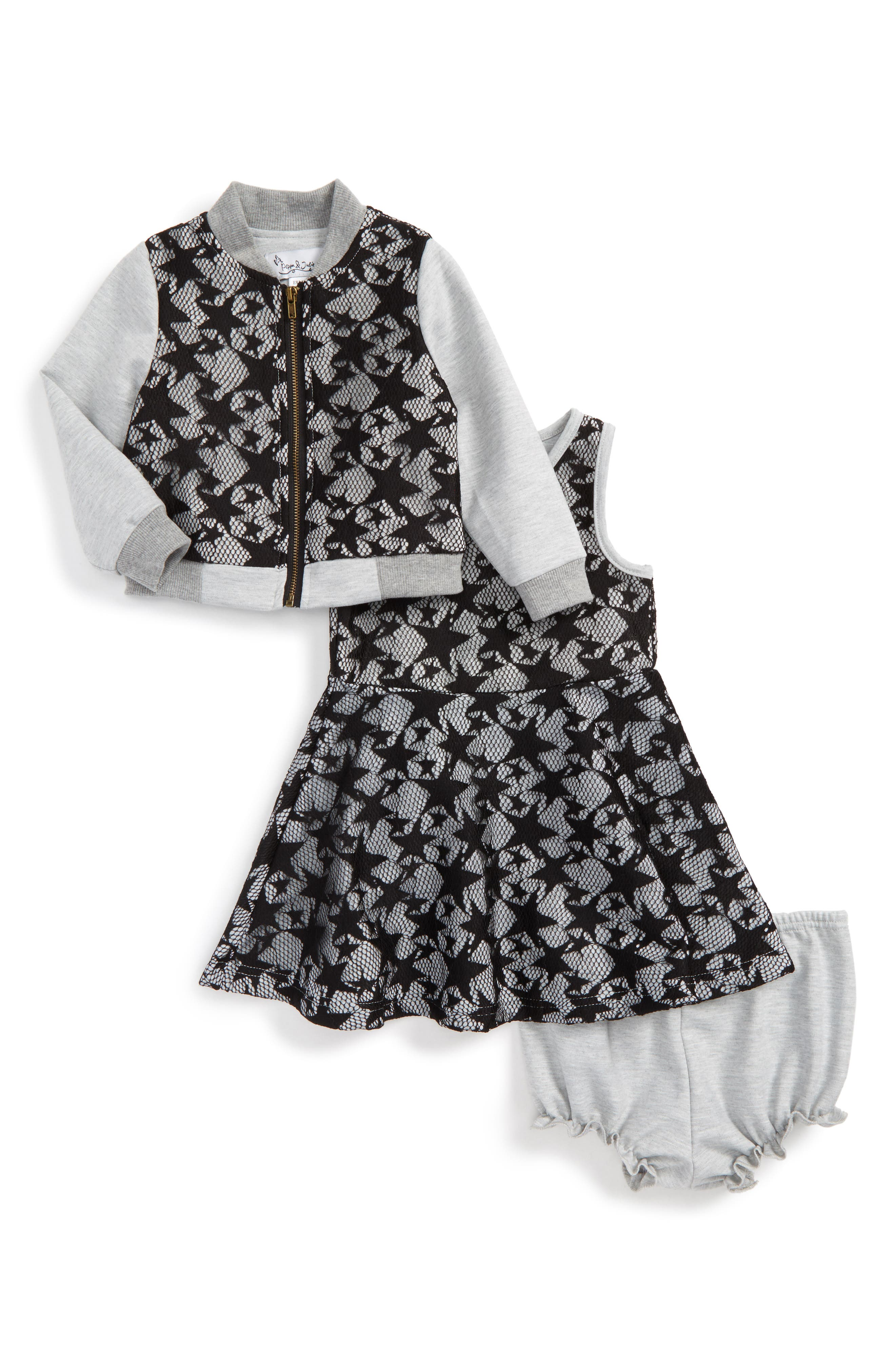 Star Lace Jacket & Dress Set,                             Main thumbnail 1, color,                             Black/ Grey