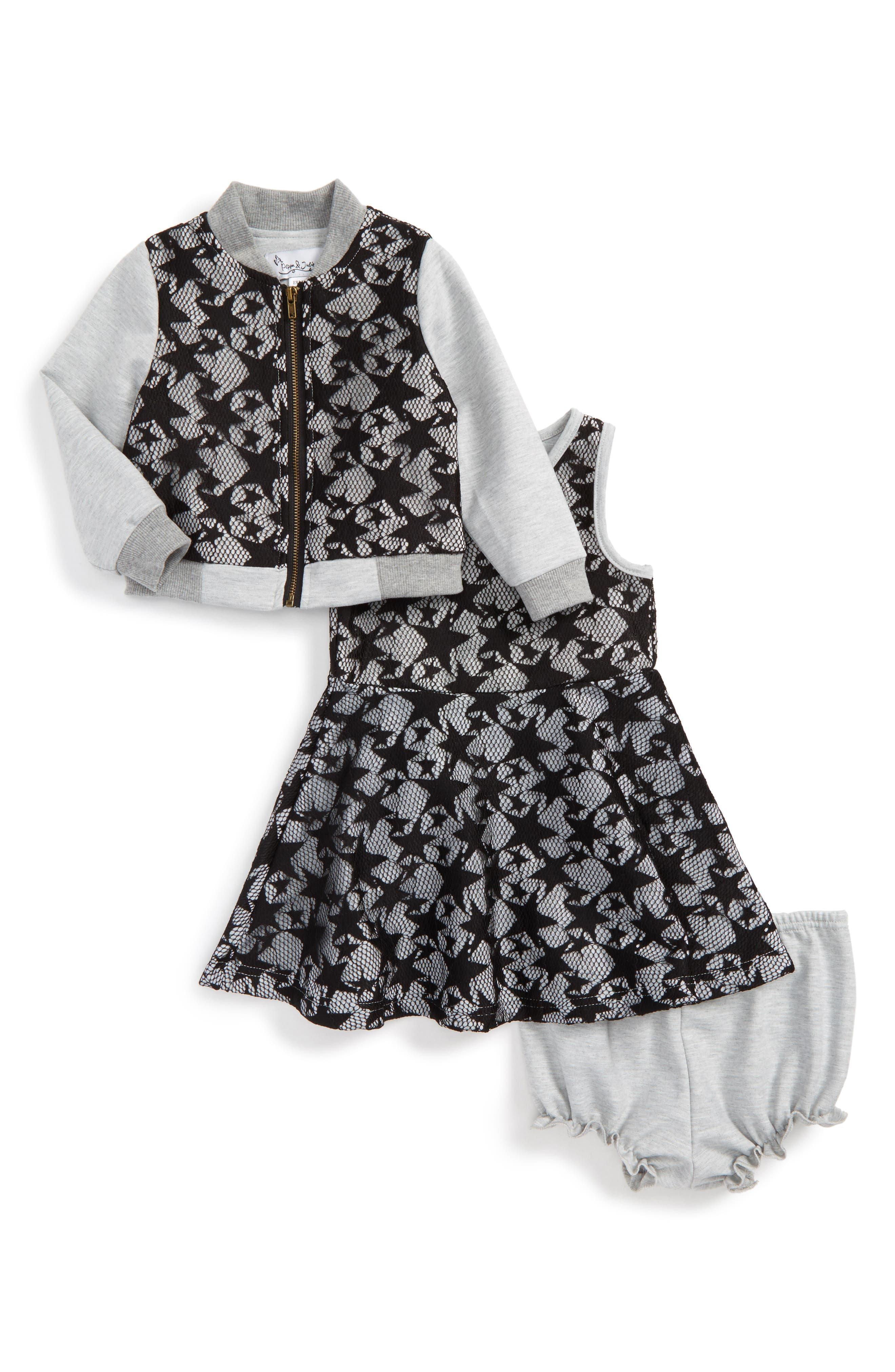 Star Lace Jacket & Dress Set,                         Main,                         color, Black/ Grey