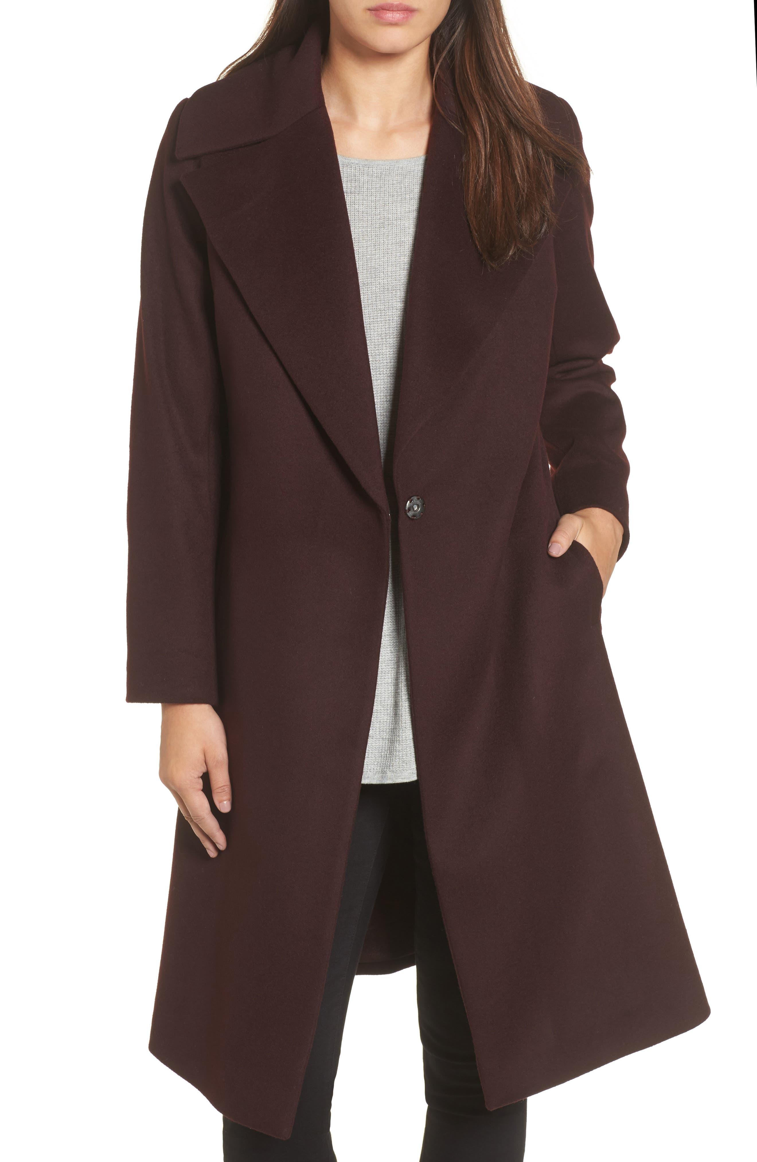 Luna Wool Blend Wrap Coat,                         Main,                         color, Wine