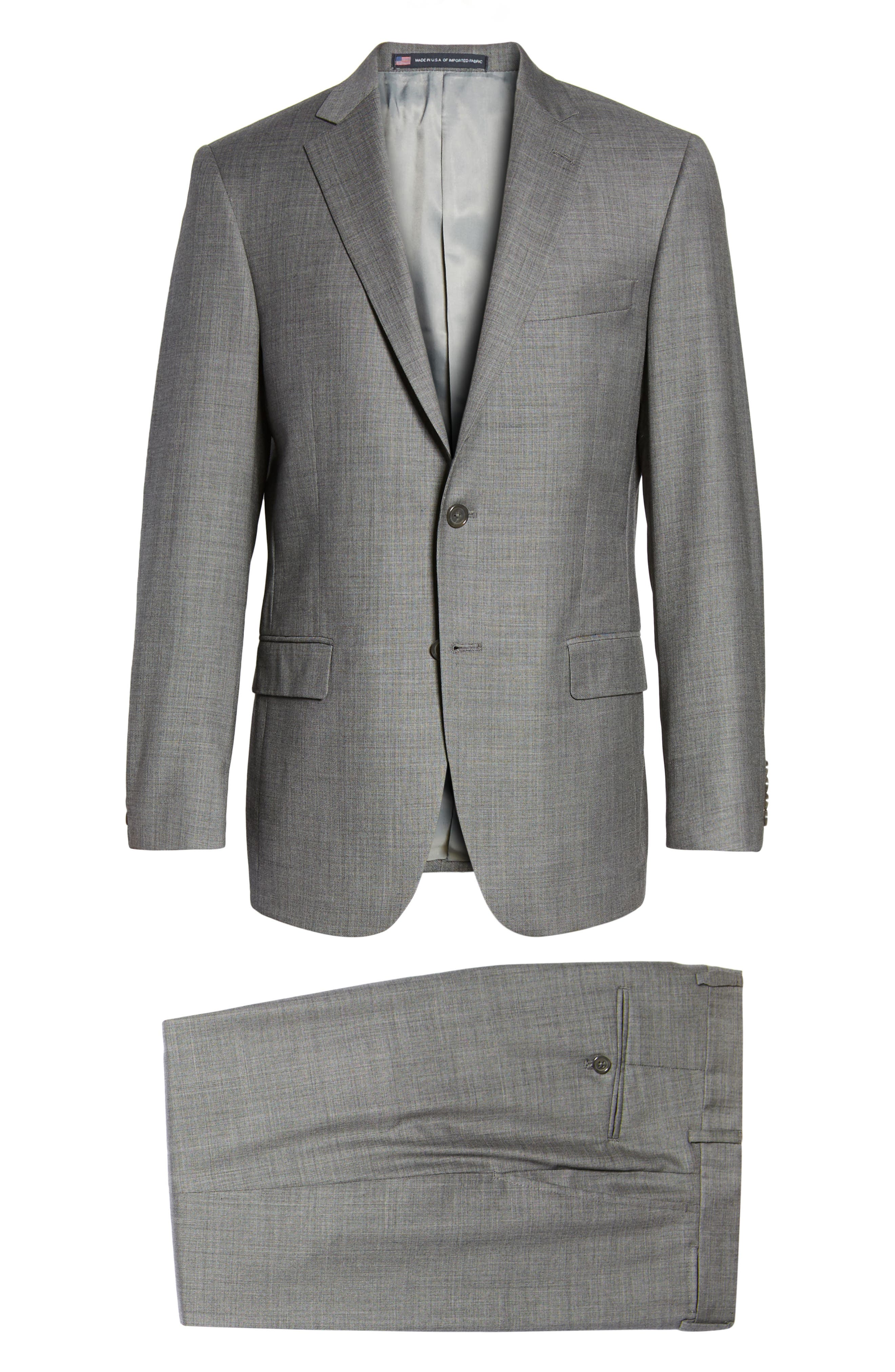 Classic Fit Solid Wool Suit,                             Alternate thumbnail 8, color,                             Med Grey