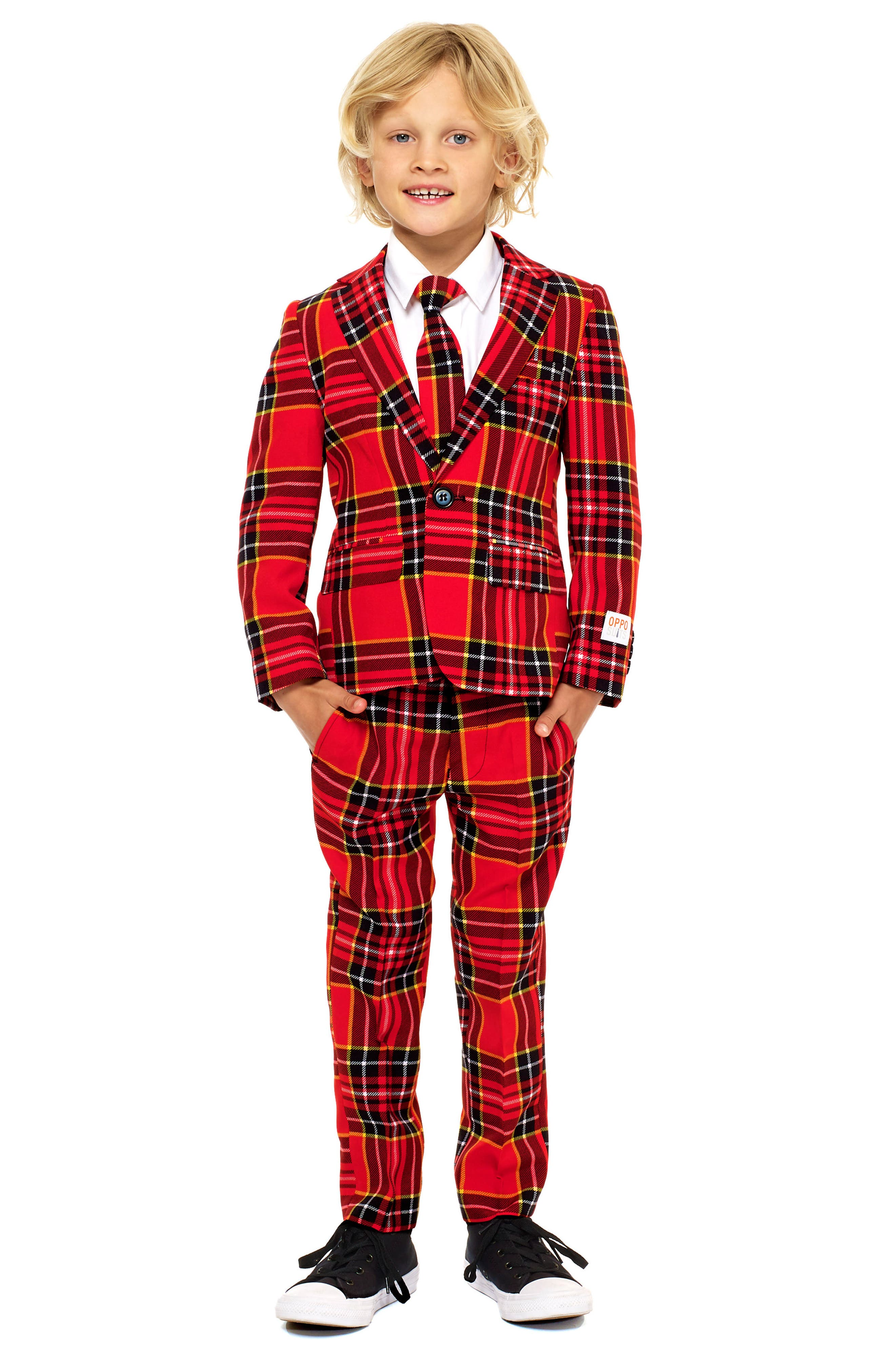 Oppo Lumberjack Two-Piece Suit with Tie,                         Main,                         color, Red