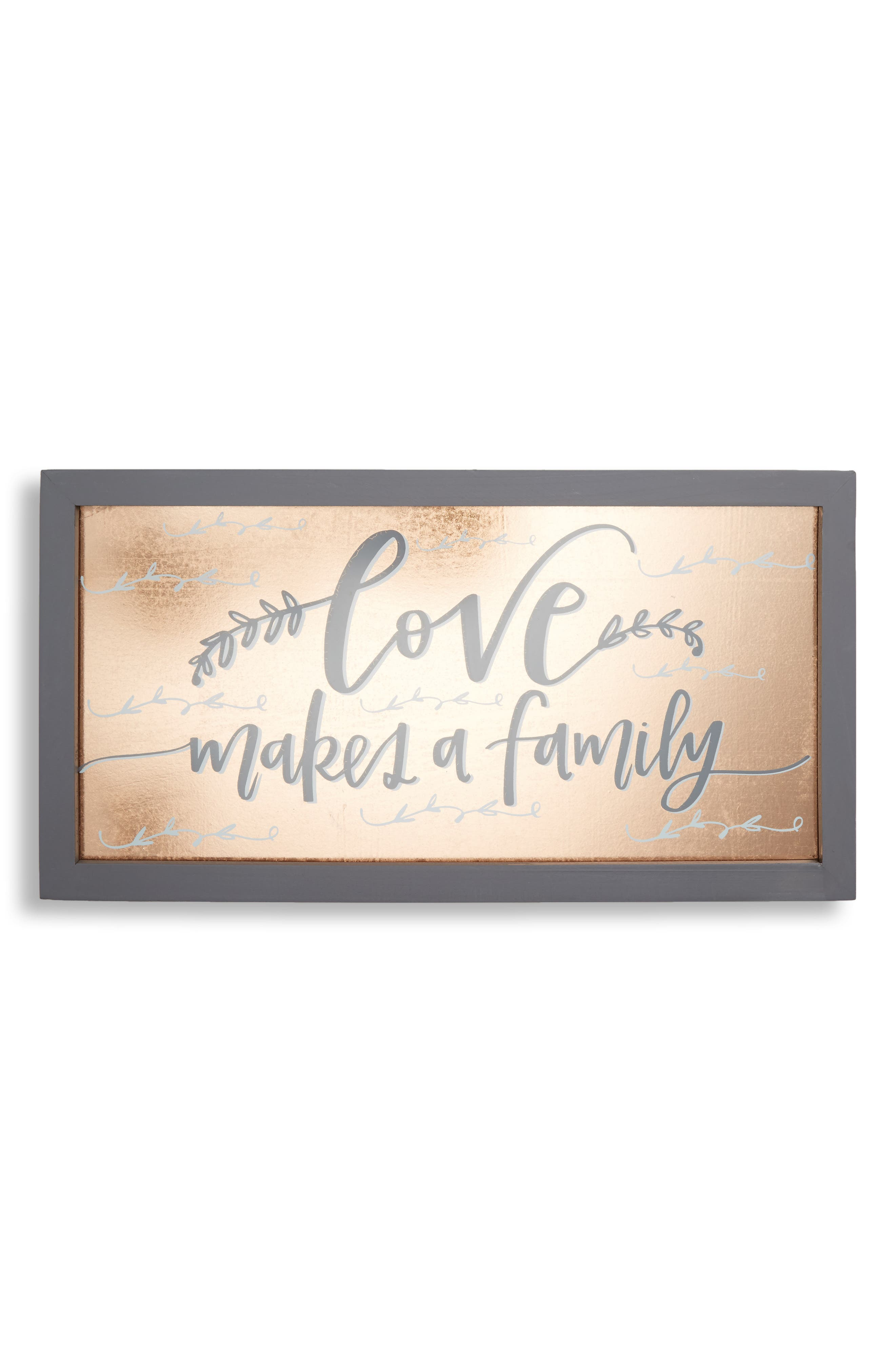 Love Makes a Family Glass Wall Art,                             Main thumbnail 1, color,                             Metallic Rust/ Copper