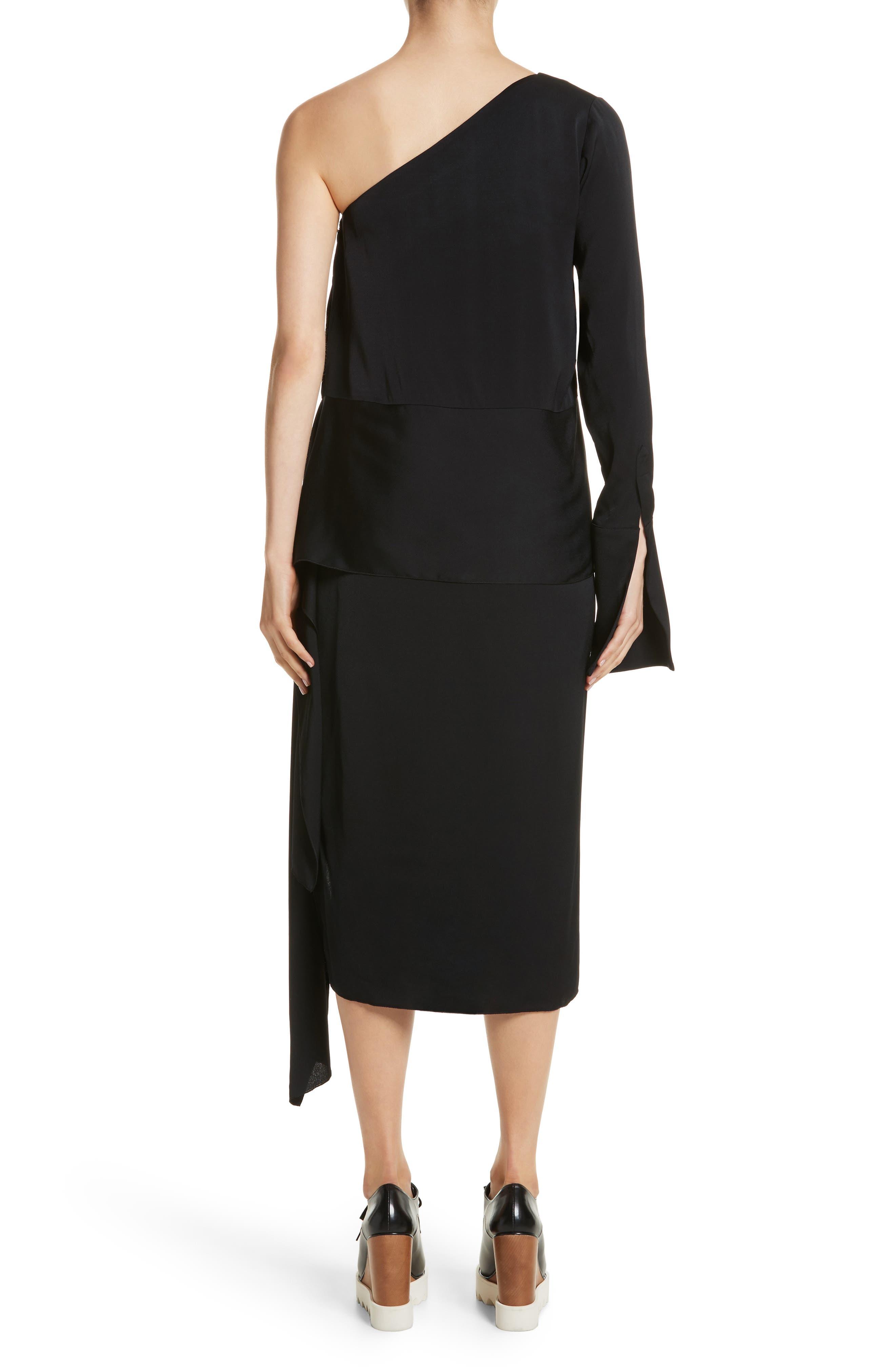 One-Shoulder Draped Cady Dress,                             Alternate thumbnail 2, color,                             Black