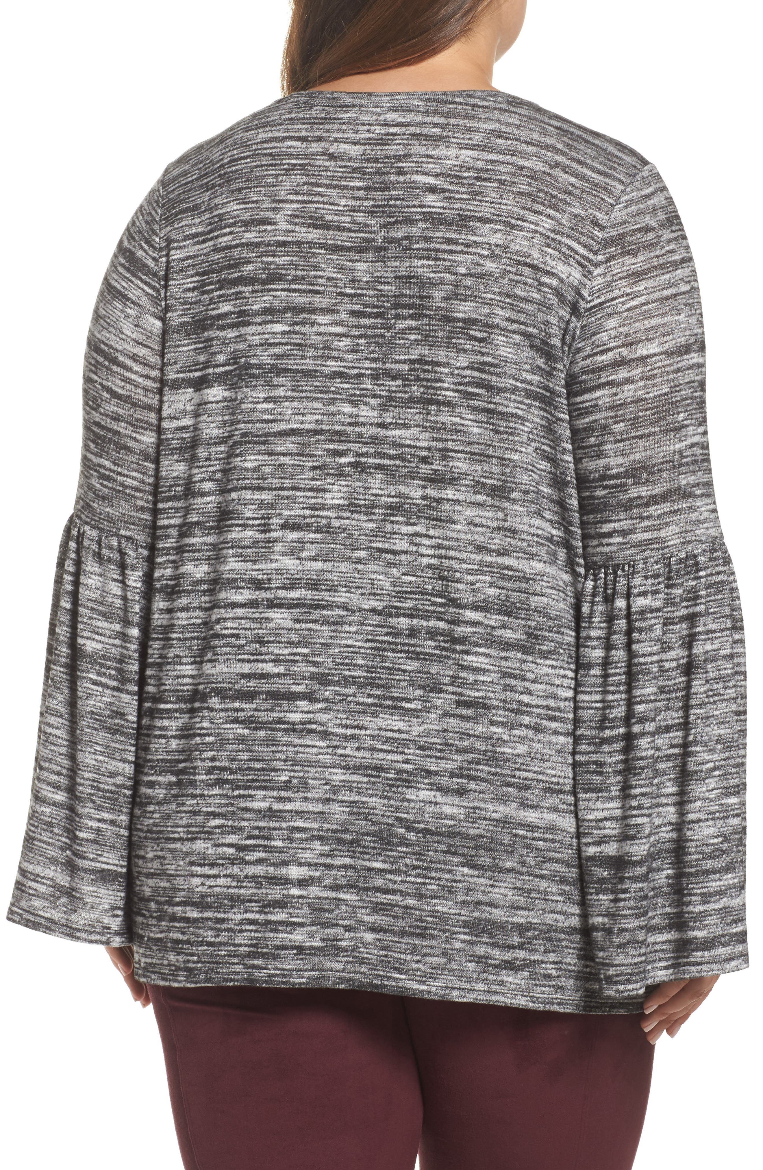 Alternate Image 2  - Two by Vince Camuto Ruched Bell Sleeve Sweater (Plus Size)