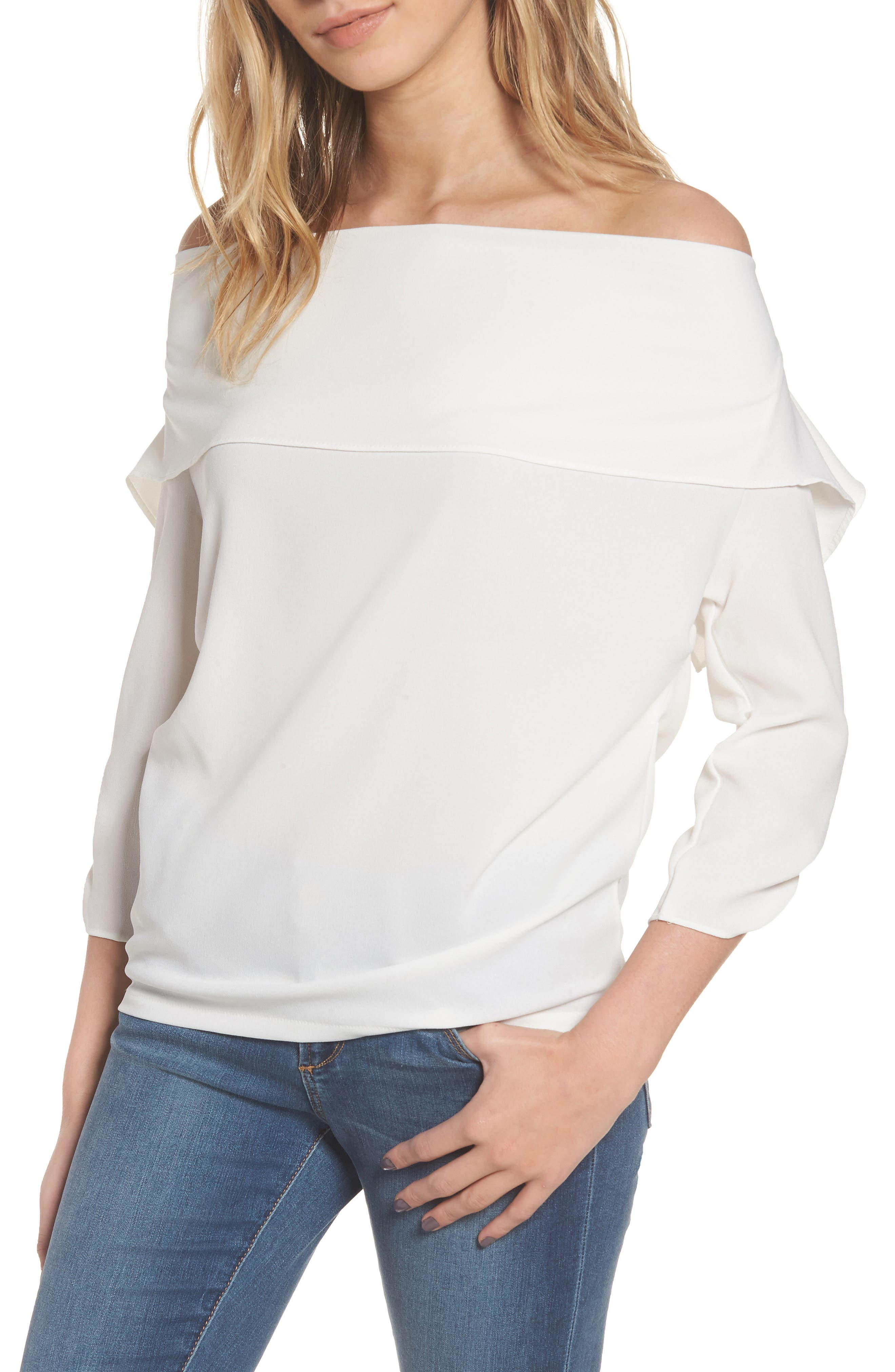 The Picture Perfect Off the Shoulder Blouse,                         Main,                         color, Ivory