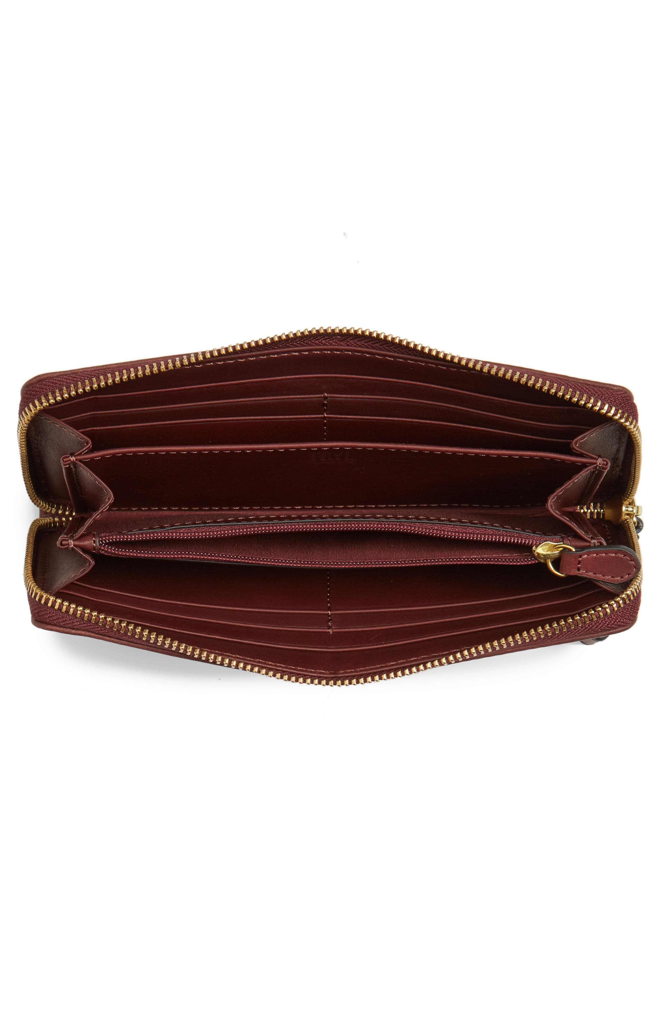 Campus Rivet Leather Continental Zip Wallet,                             Alternate thumbnail 2, color,                             Black Cherry