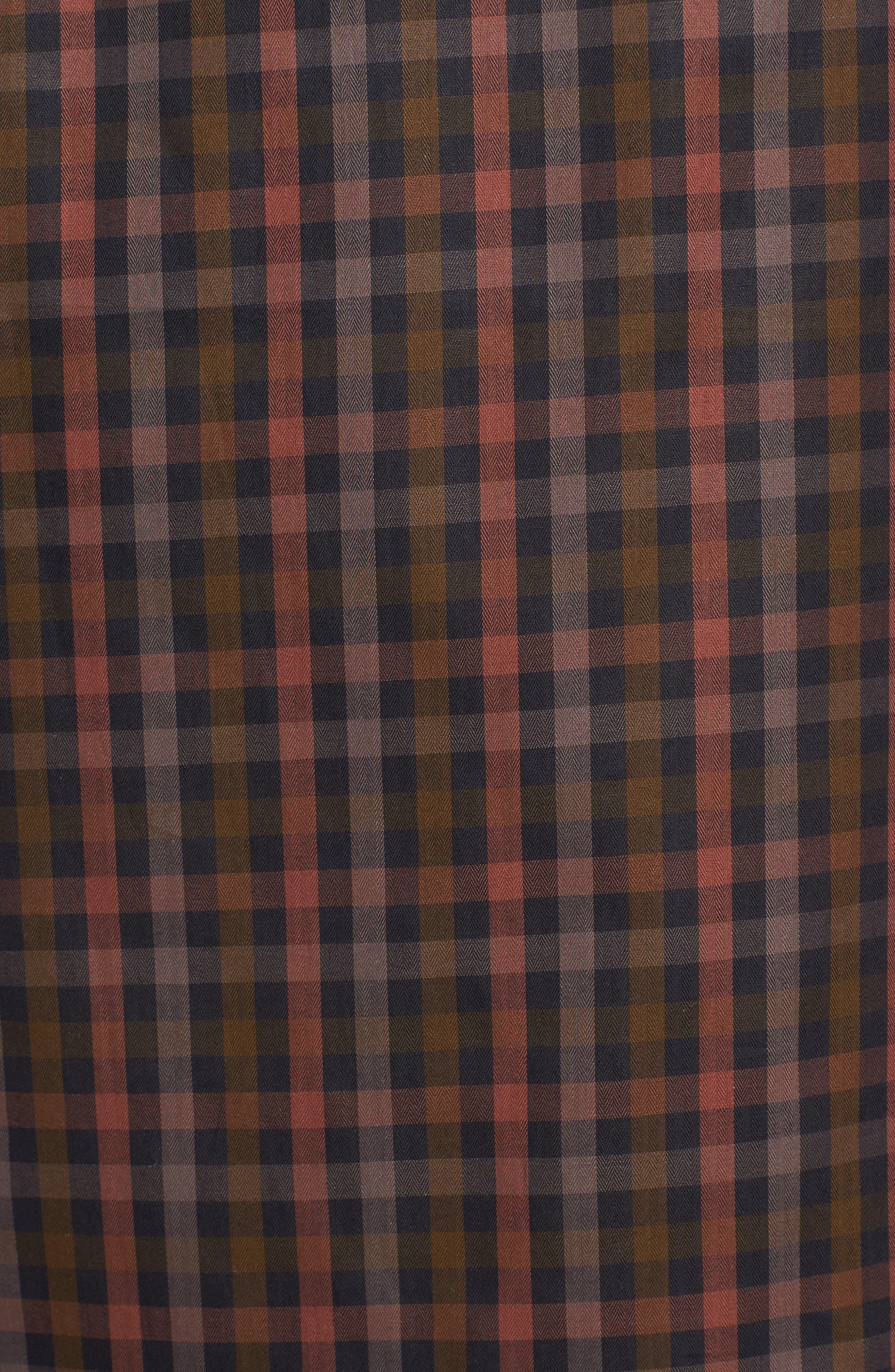 Classic Fit Check Twill Sport Shirt,                             Alternate thumbnail 5, color,                             Khaki