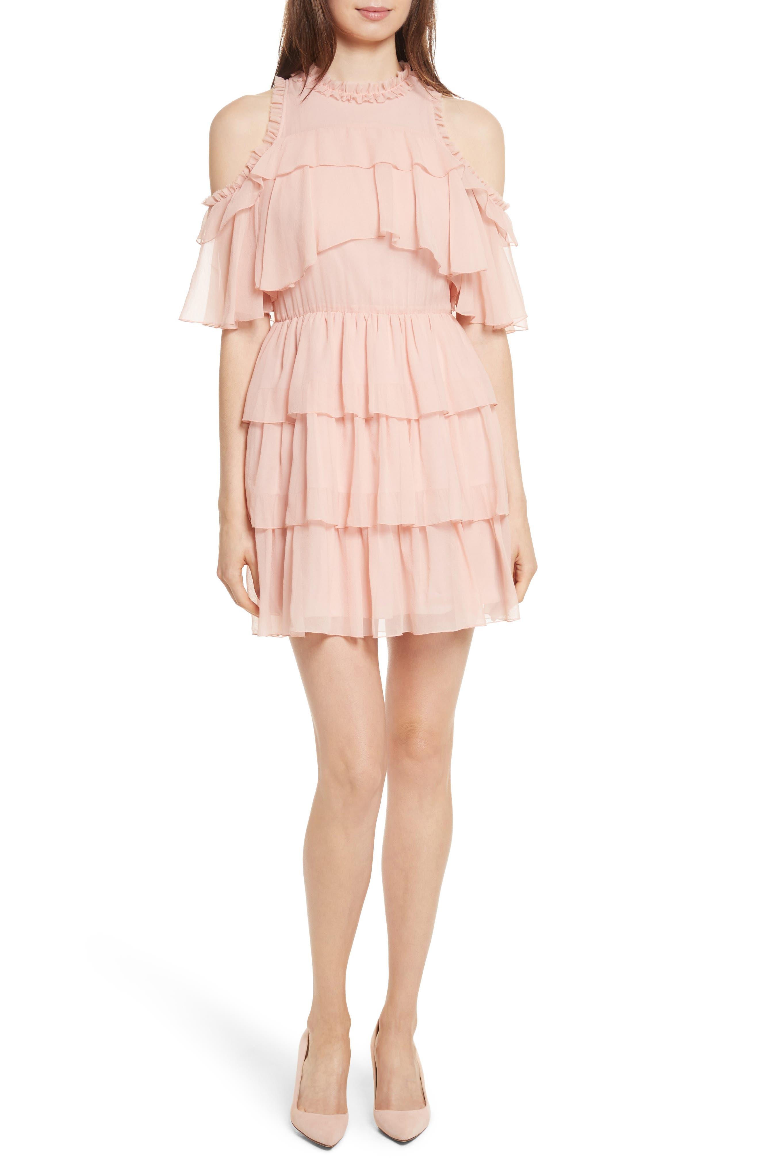 Nichola Cold Shoulder Ruffle Silk Dress,                         Main,                         color, Blush