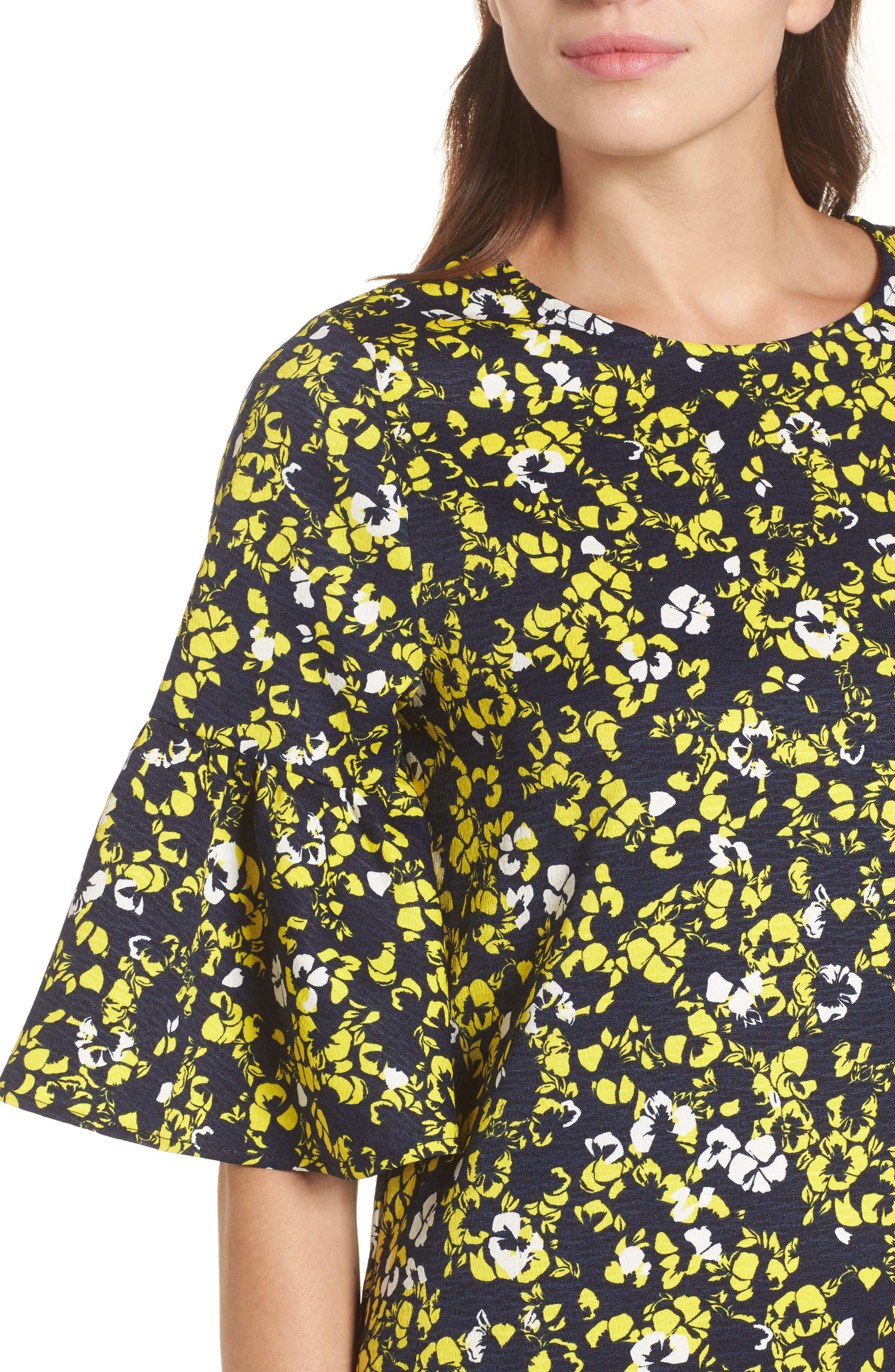 Ruffle Sleeve Shift Dress,                             Alternate thumbnail 4, color,                             Navy- Yellow Floral