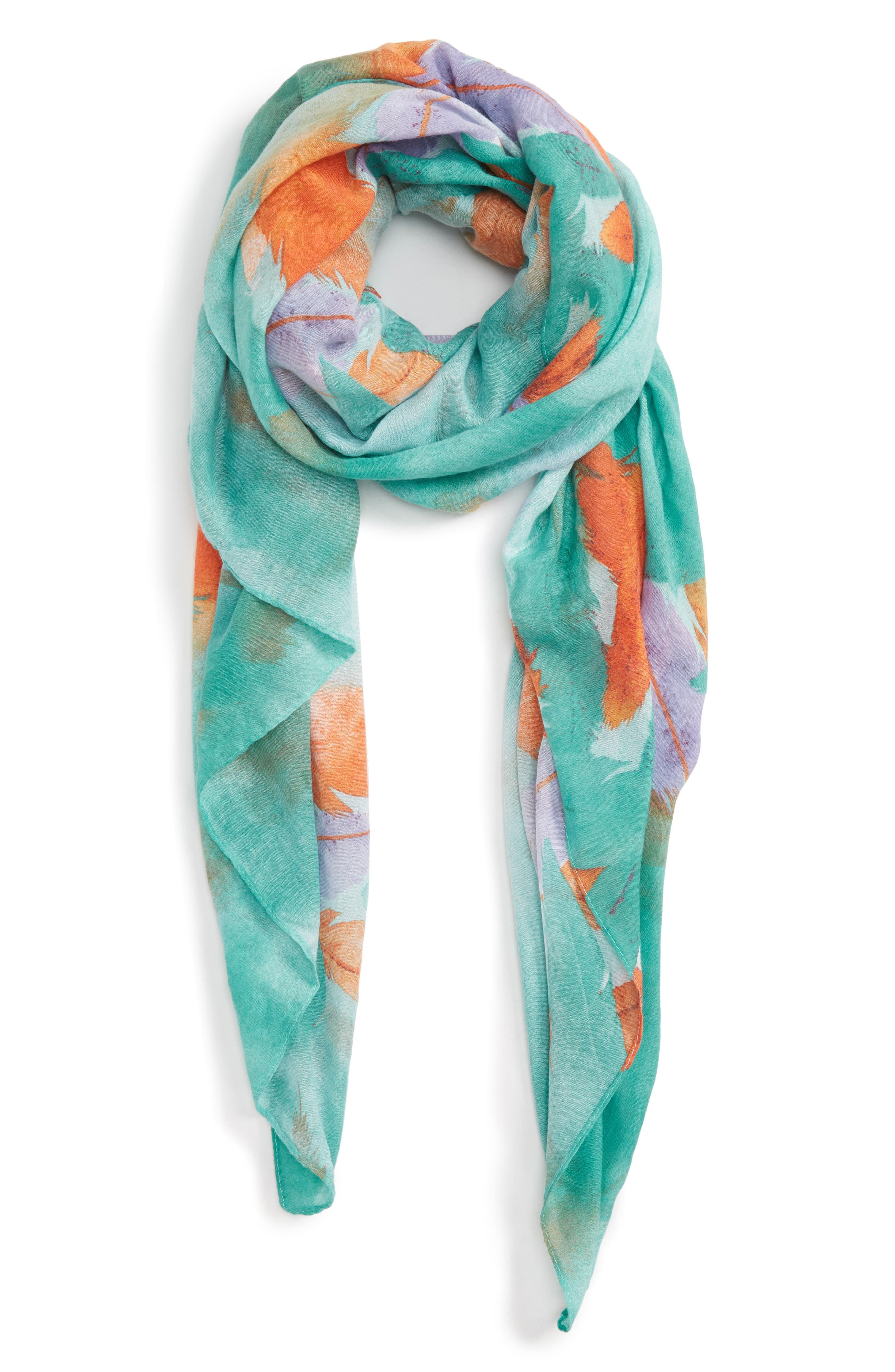 Accessory Collective Abstract Feather Print Scarf,                             Main thumbnail 1, color,                             Blue Multi