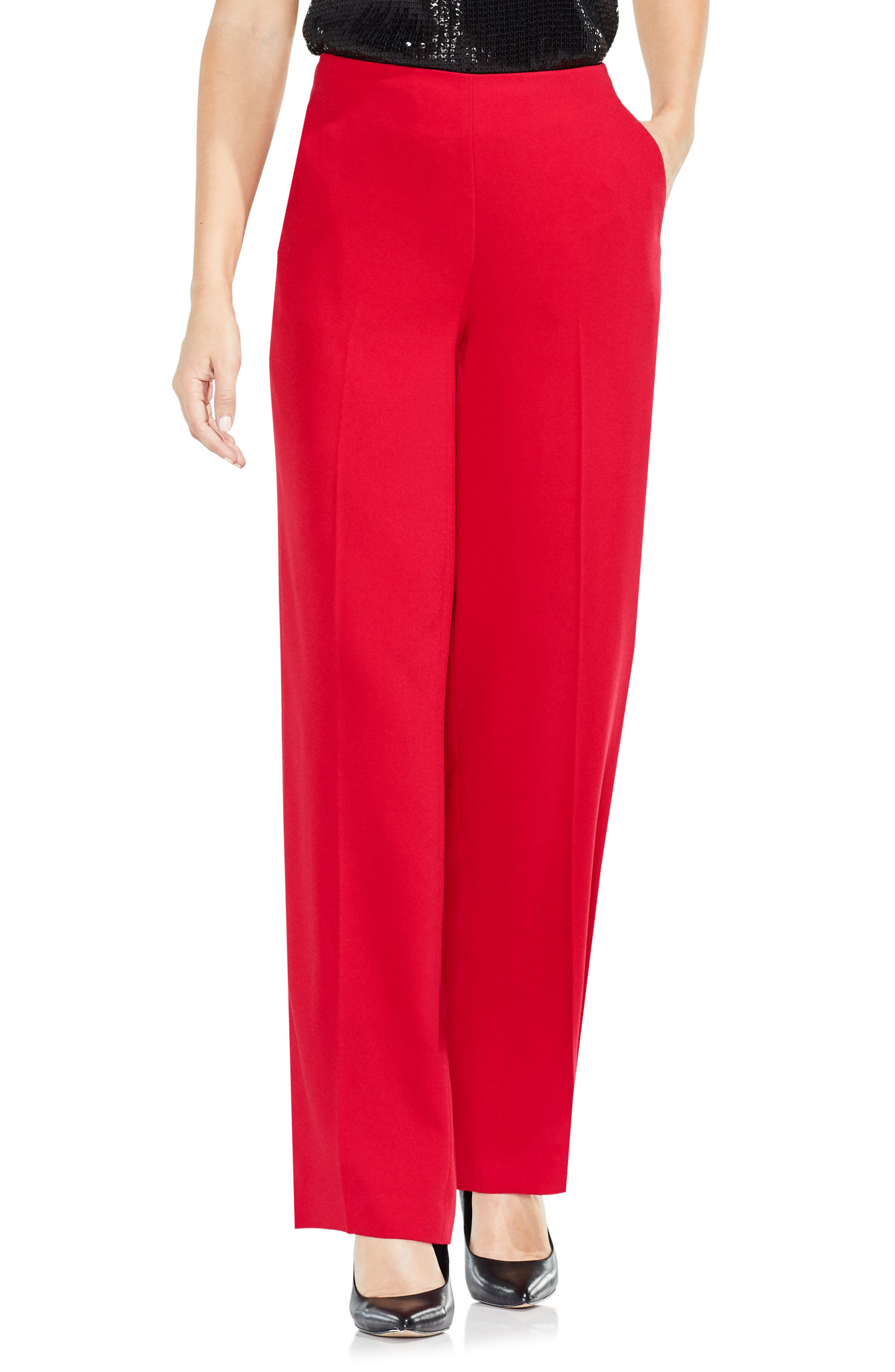 Wide Leg Pants,                         Main,                         color, True Crimson