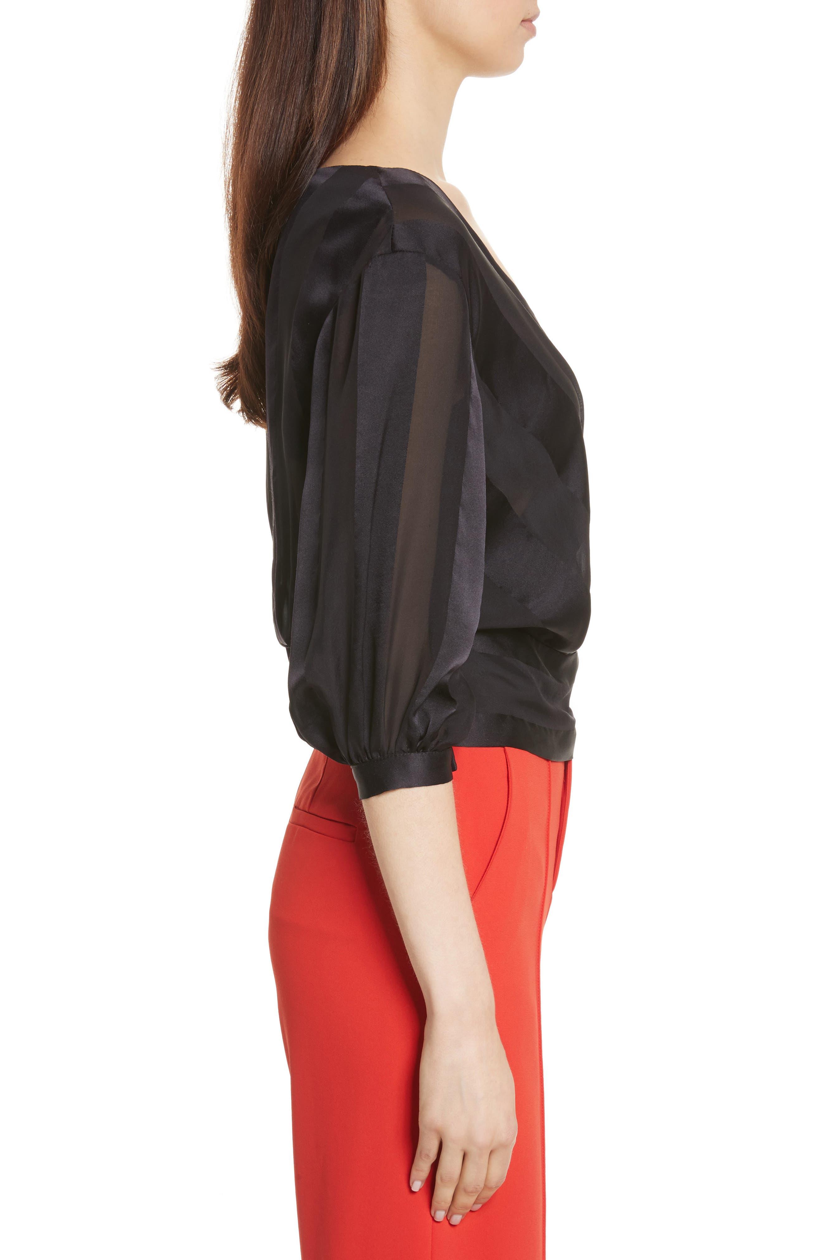 Dyanna Wrap Front Blouson Silk Top,                             Alternate thumbnail 3, color,                             Black
