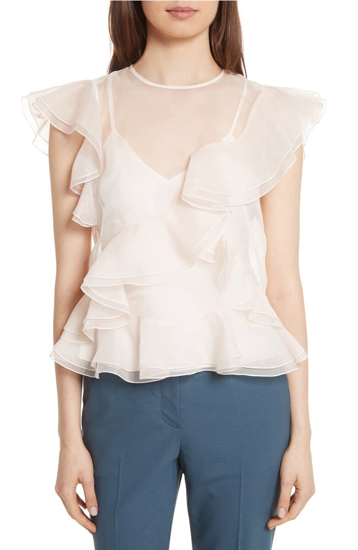 Ruffled Organza Skirt With Embroidered And Beaded Bodice: Rebecca Taylor Organza Ruffle Blouse