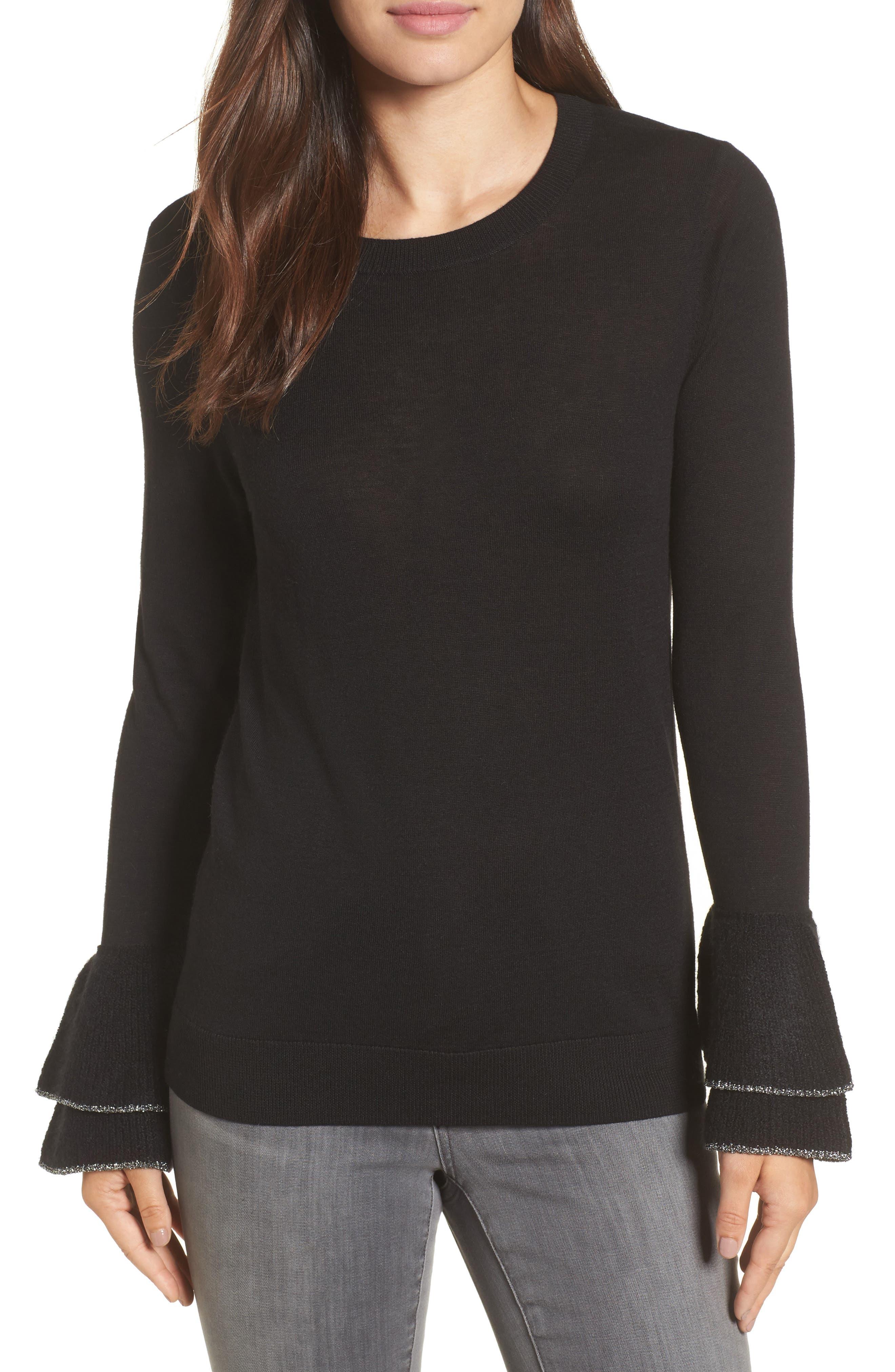 Halogen® Metallic Trim Flare Cuff Sweater (Regular & Petite)