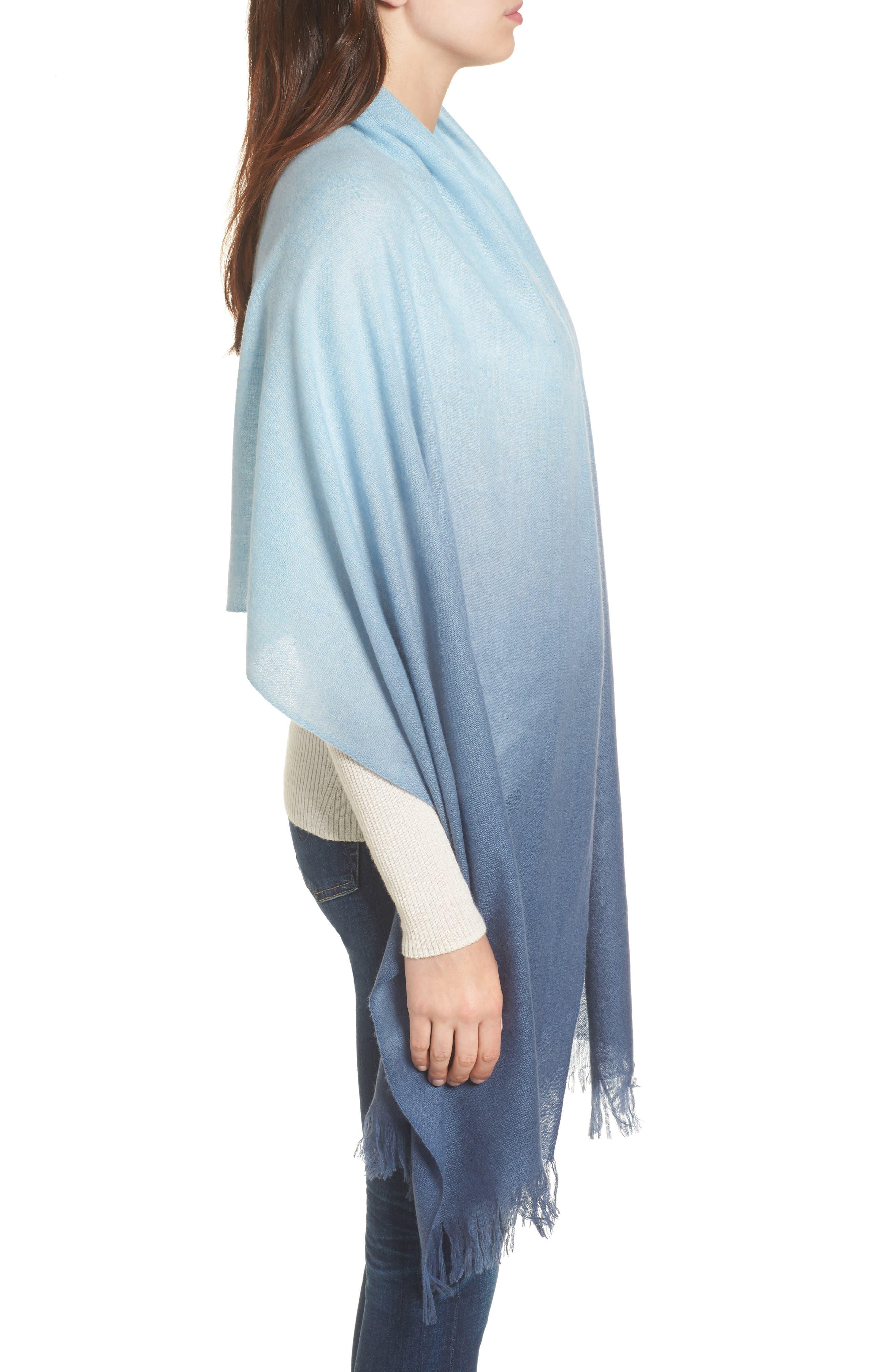 Caslon Dip Dye Cashmere Wrap,                             Alternate thumbnail 3, color,                             Blue Combo