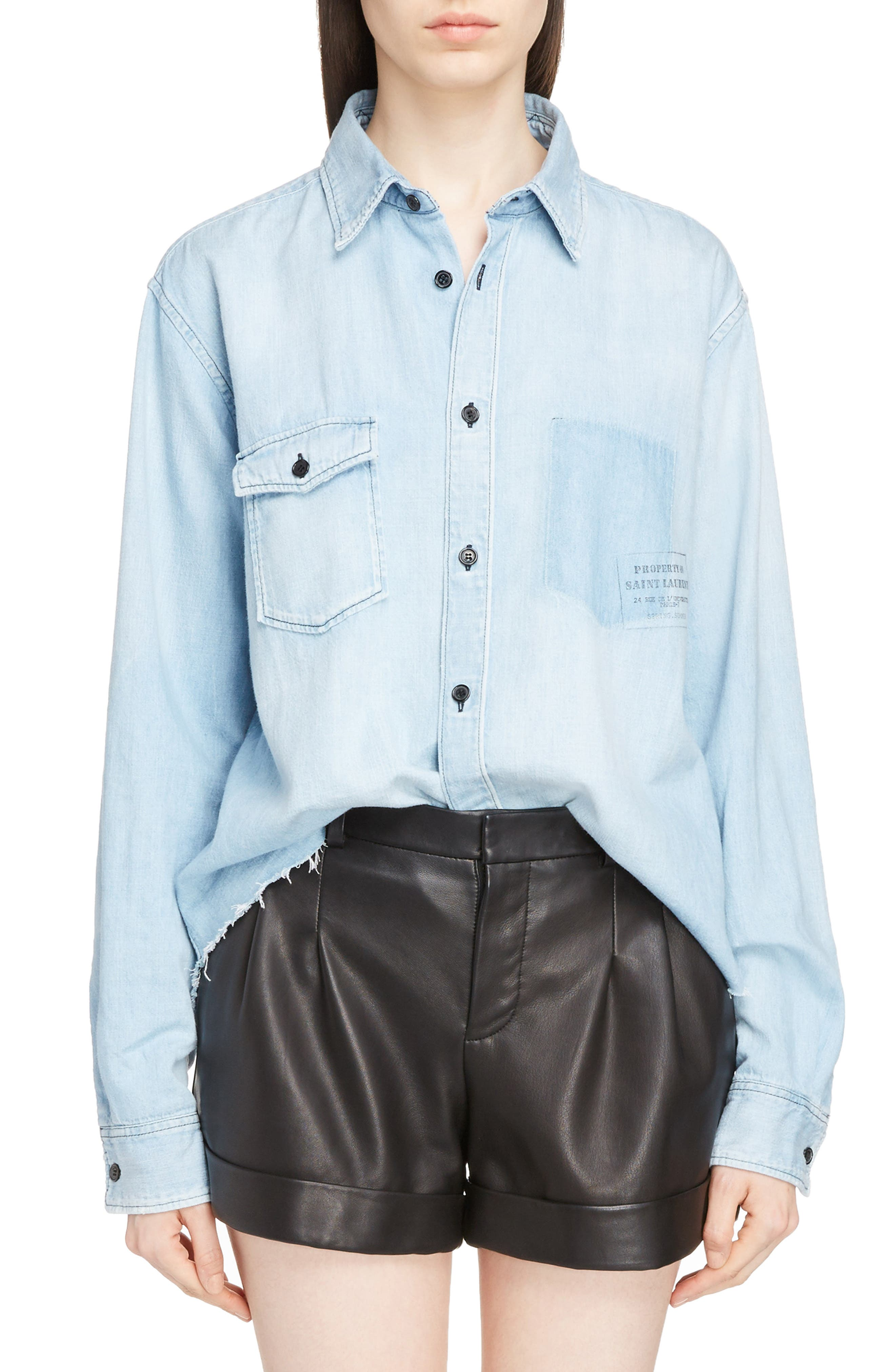 Saint Laurent Logo Stamp Denim Shirt