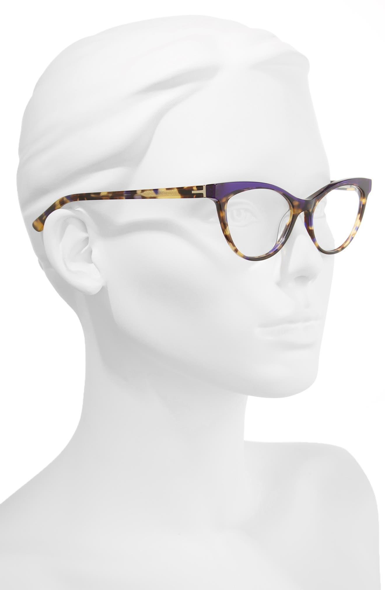51mm Optical Cat Eye Glasses,                             Alternate thumbnail 2, color,                             Brown