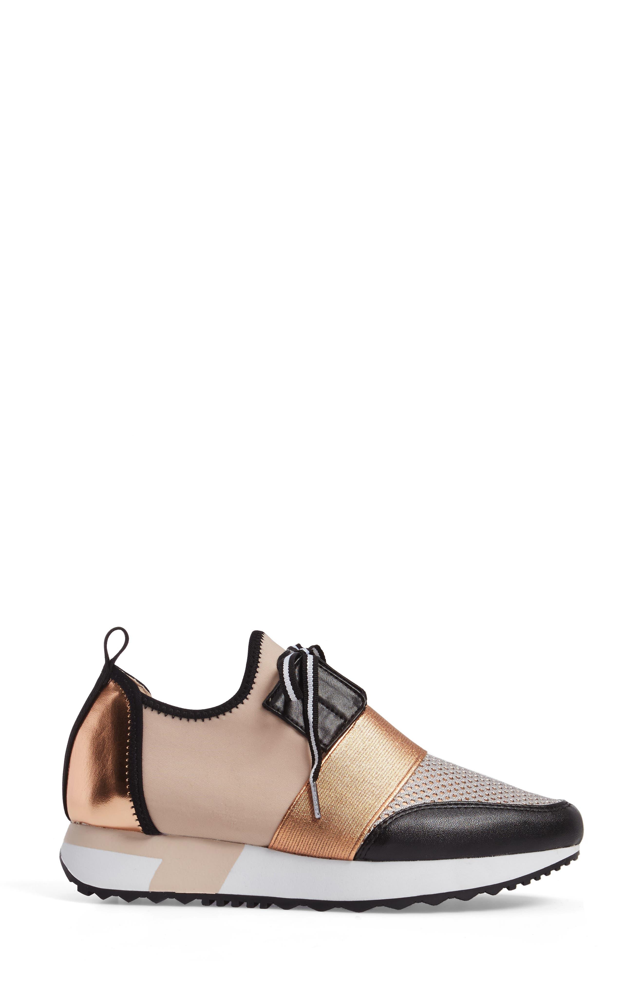 Antics Sneaker,                             Alternate thumbnail 3, color,                             Rose Gold Faux Leather