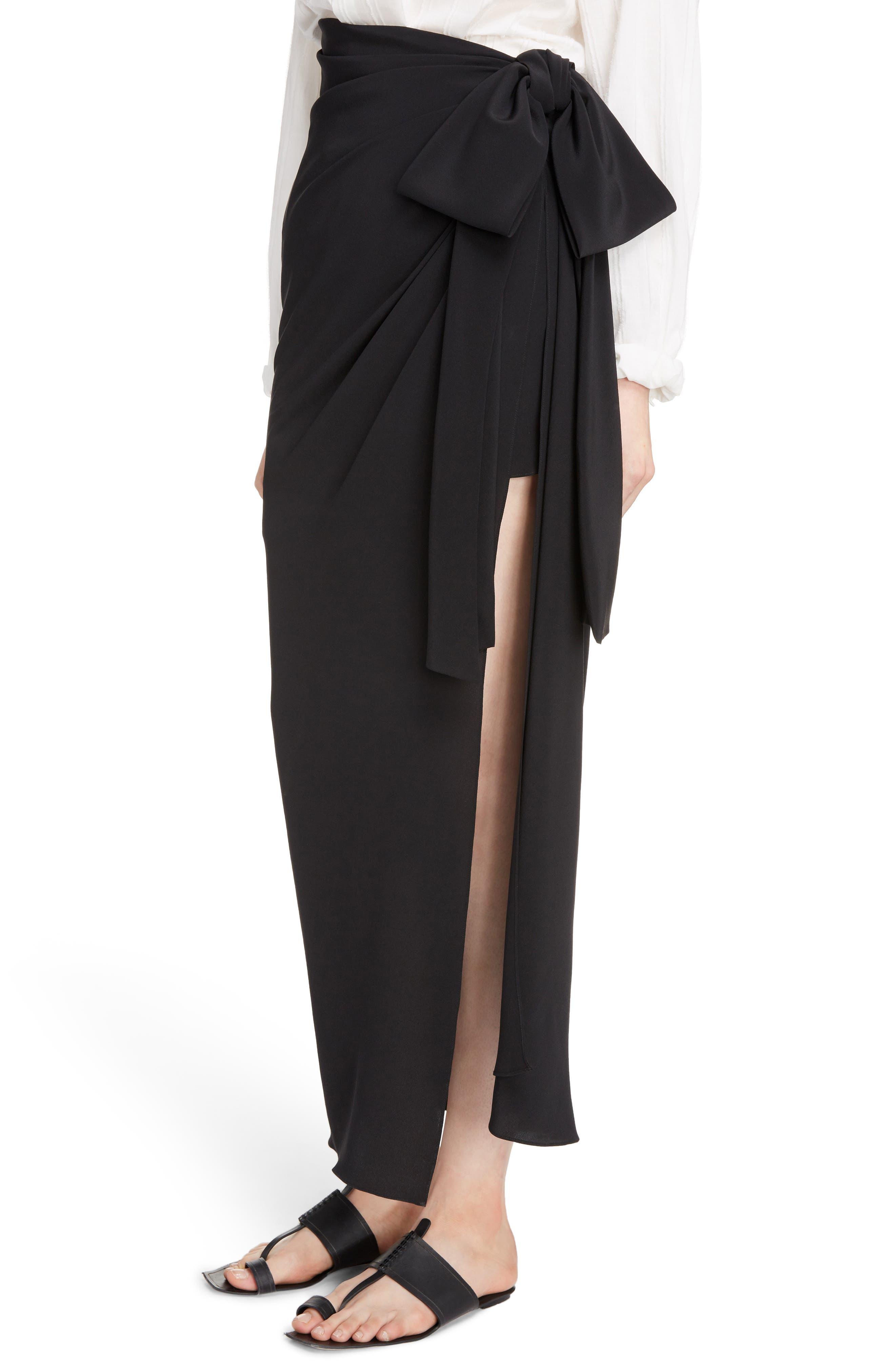 Side Tie Silk Crêpe de Chine Maxi Skirt,                             Alternate thumbnail 5, color,                             Noir