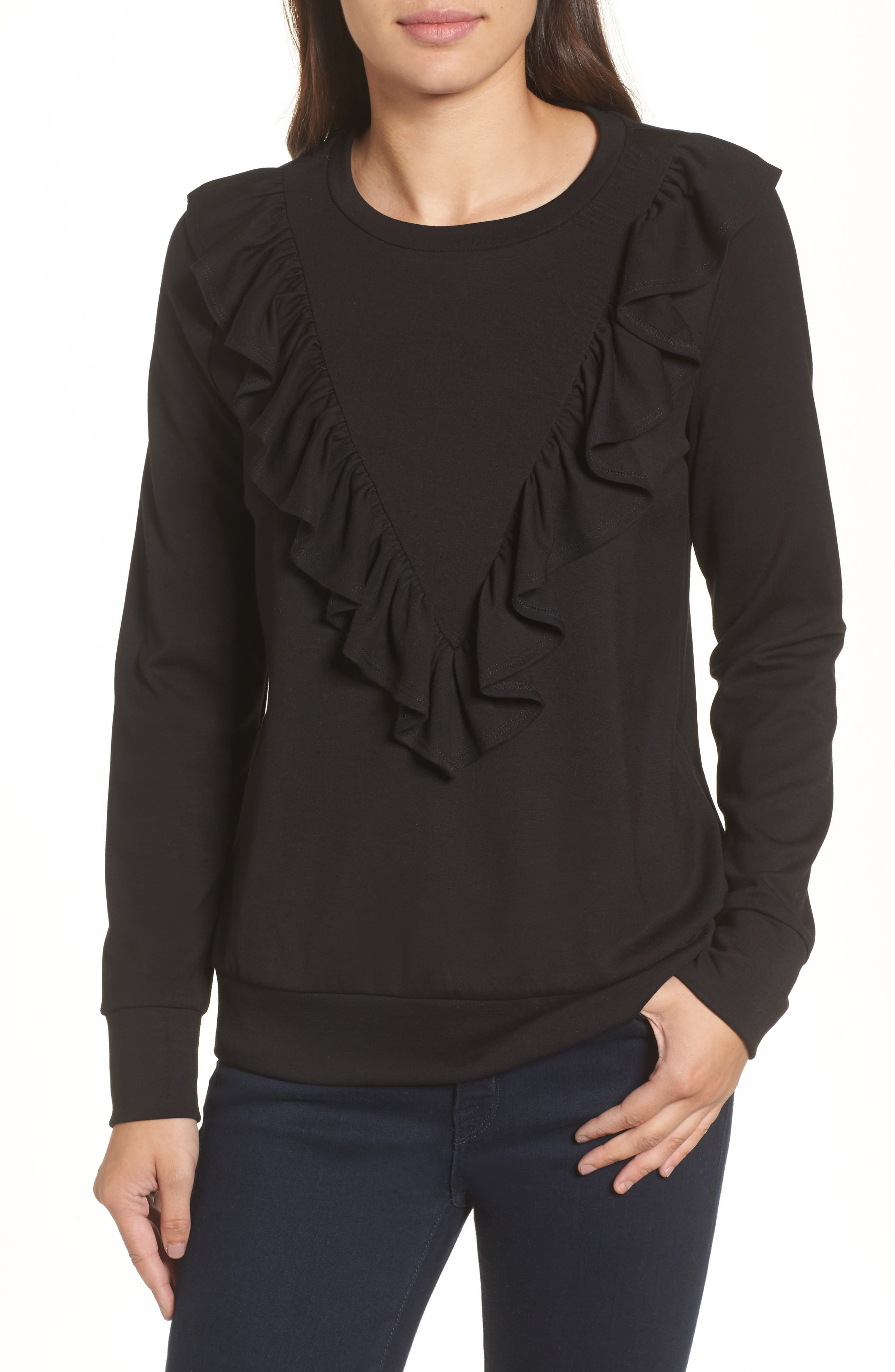 Ruffle Ponte Sweater,                             Main thumbnail 1, color,                             Black