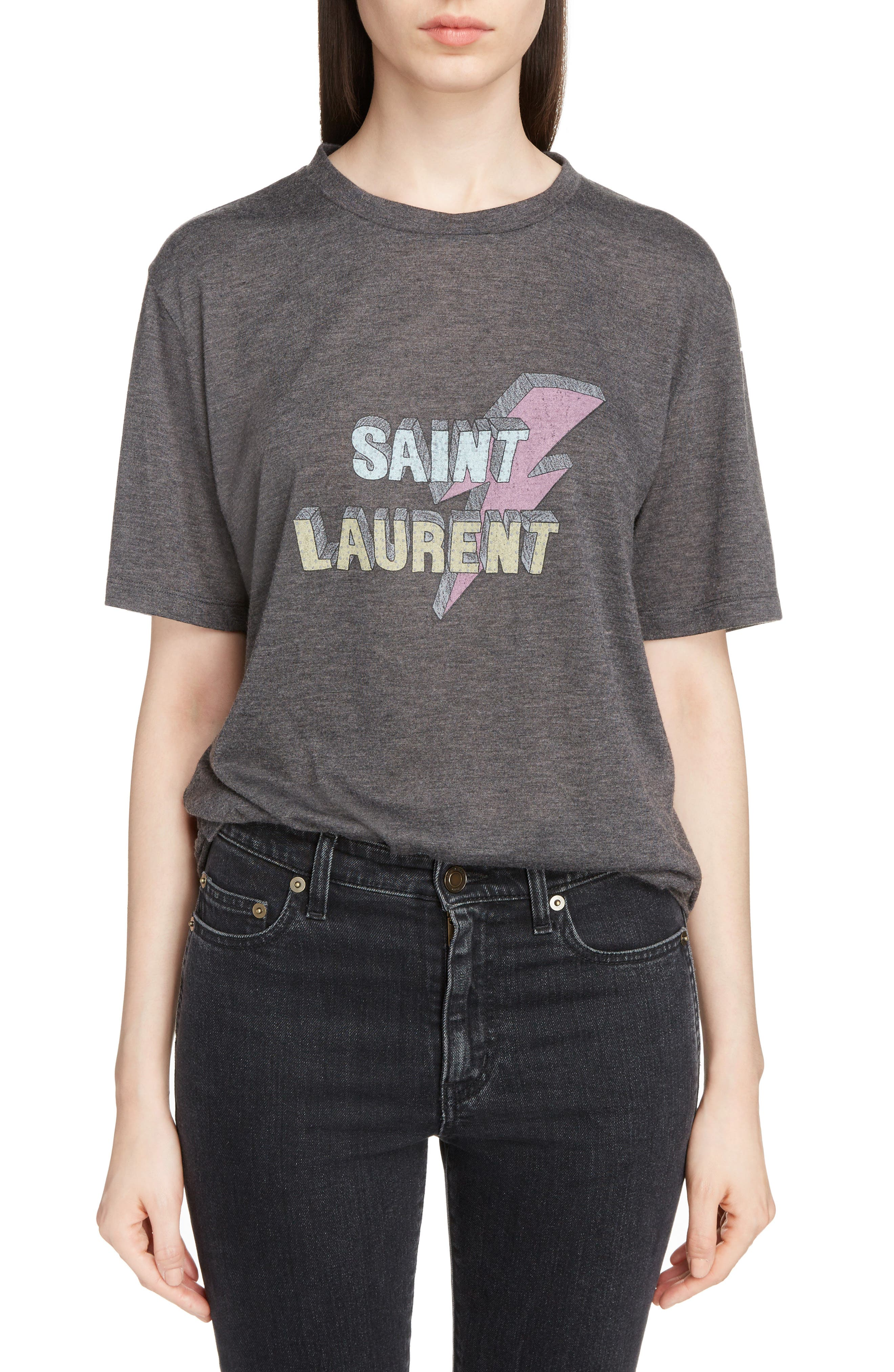 Main Image - Saint Laurent Lightning Logo Tee