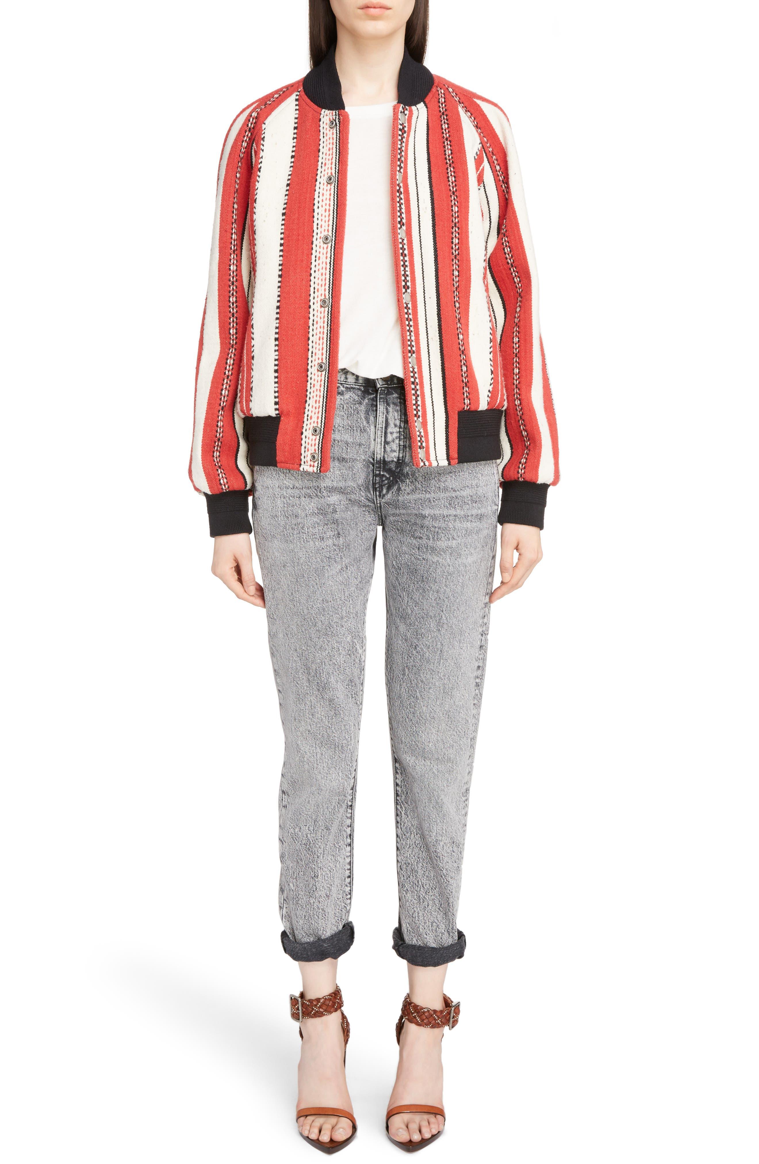 Tapestry Wool Blend Teddy Jacket,                             Alternate thumbnail 6, color,                             Rouge Craie Noir