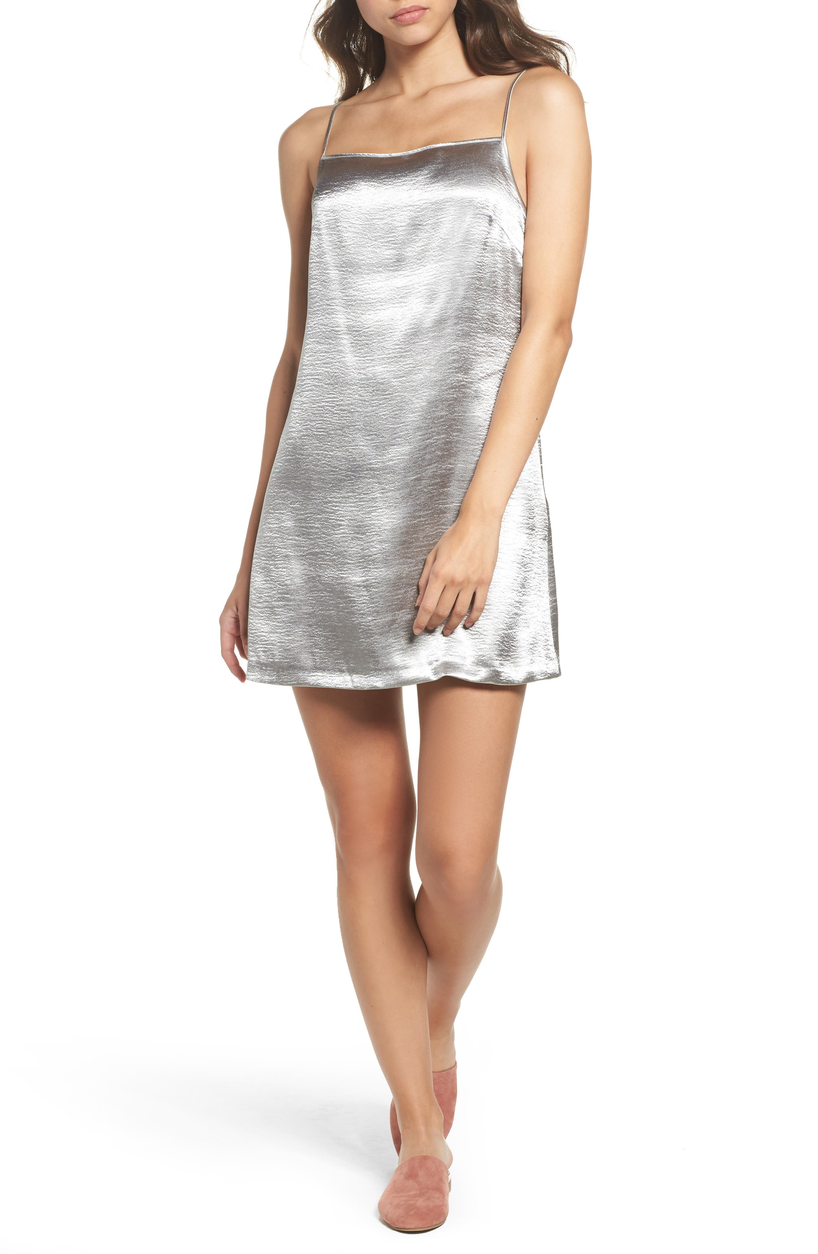 Kate Shine Slipdress,                         Main,                         color, Silver