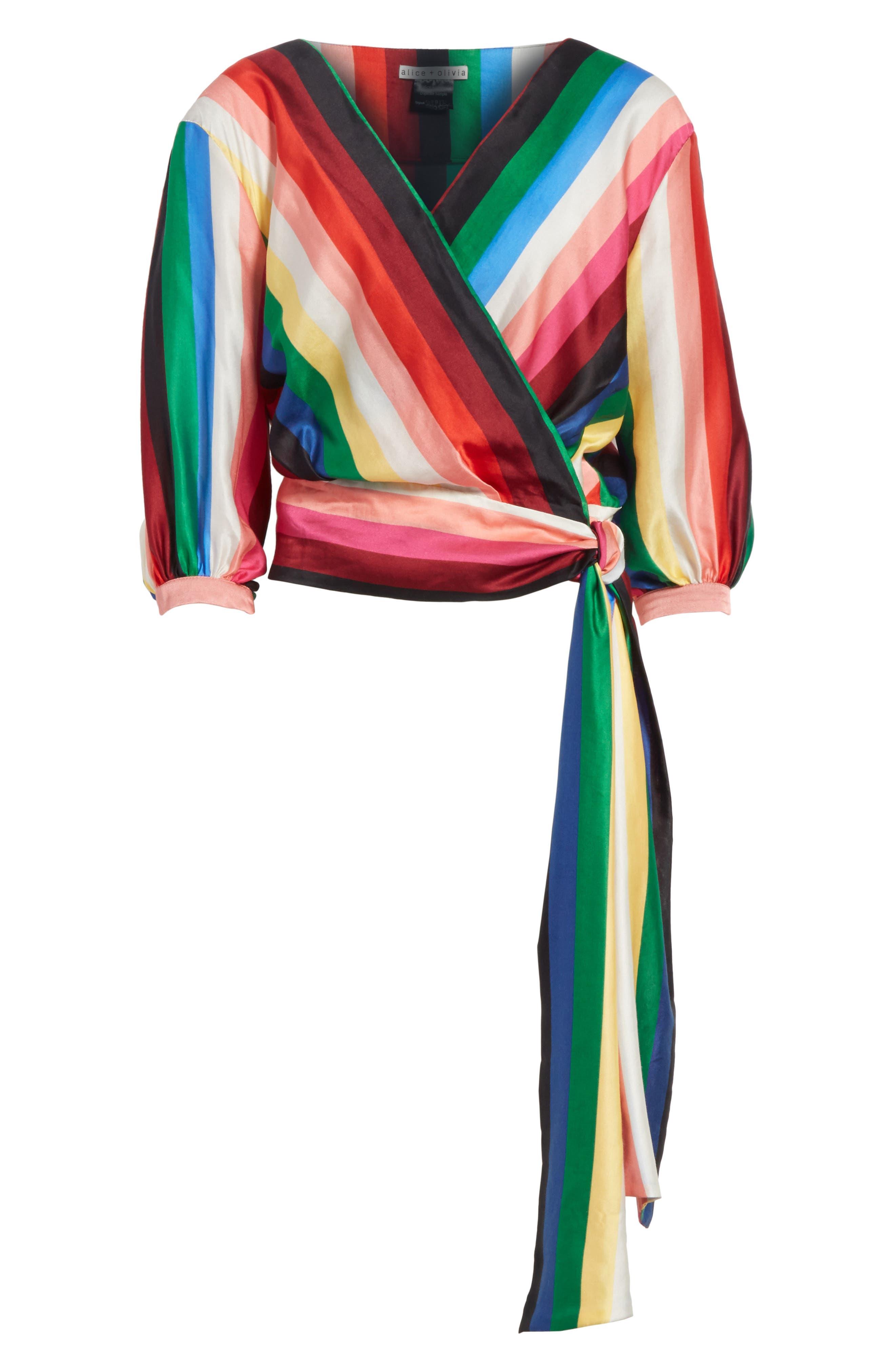 Dyanna Wrap Front Blouson Top,                             Alternate thumbnail 6, color,                             Rainbow Stripe