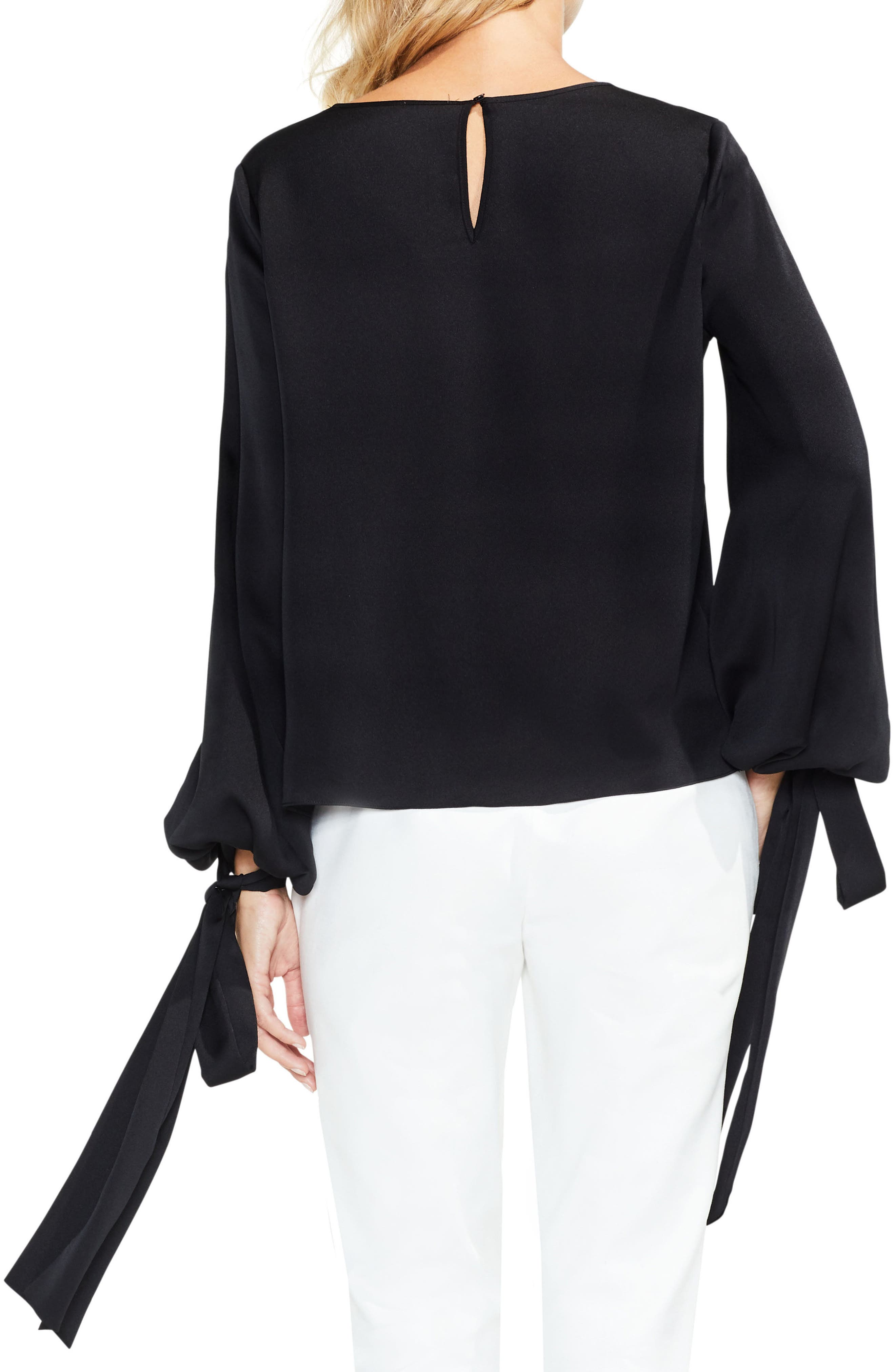 Alternate Image 2  - Vince Camuto Tie Cuff Bubble Sleeve Blouse (Regular & Petite)