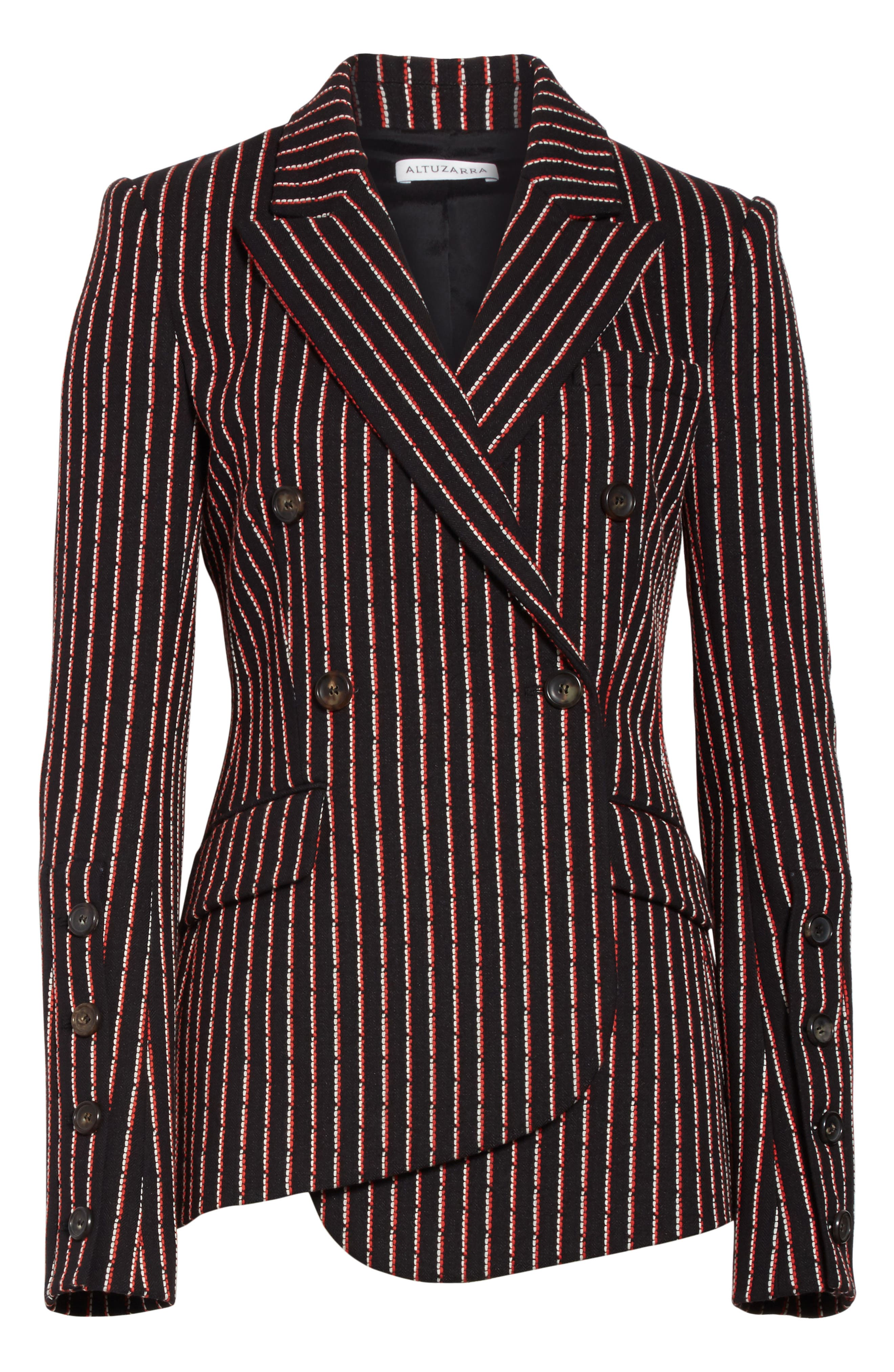 Pinstripe Double Breasted Blazer,                             Alternate thumbnail 7, color,                             Black White Persimmon