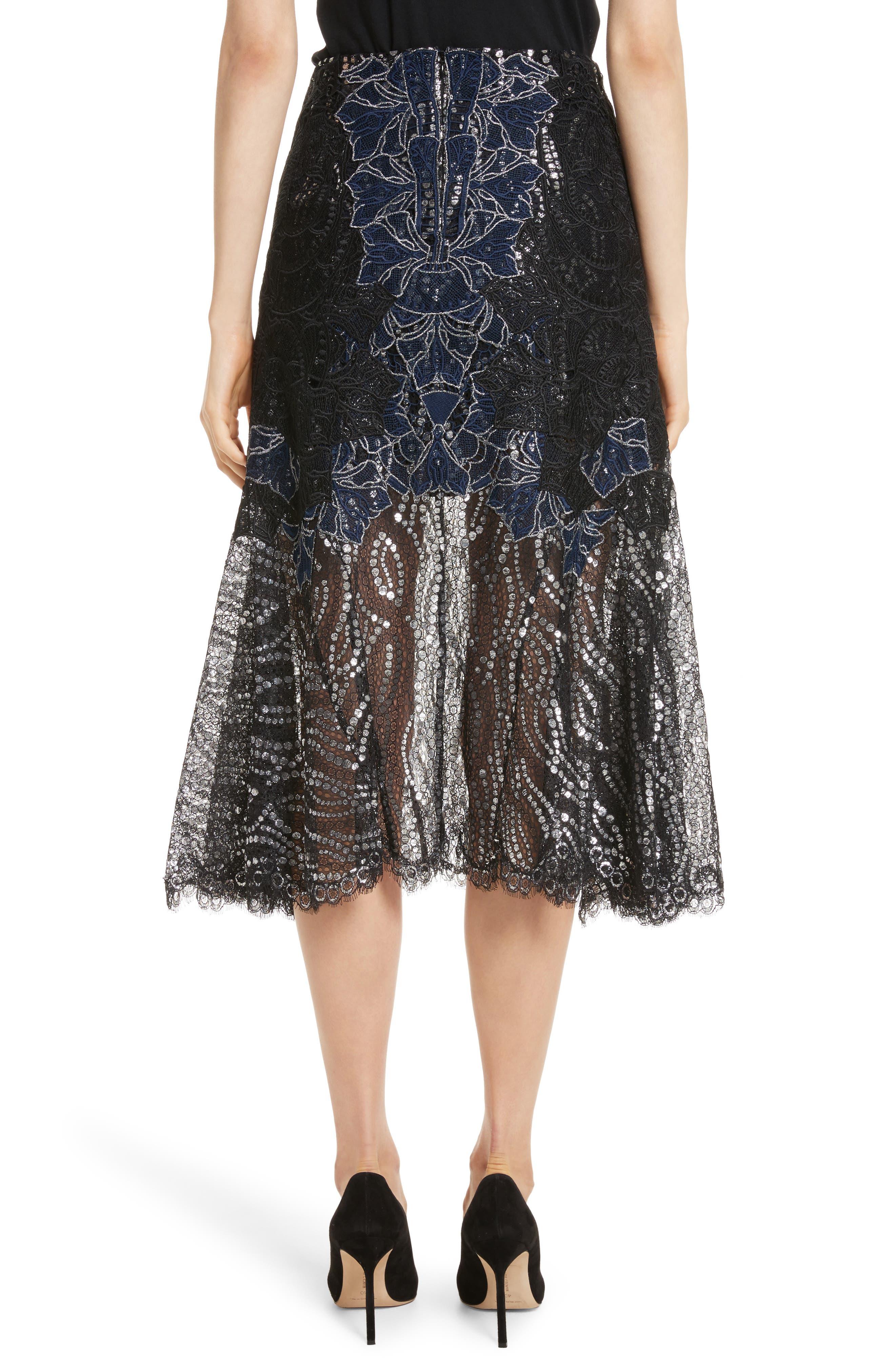 Dimensional Metallic Appliqué Trumpet Skirt,                             Alternate thumbnail 2, color,                             Black