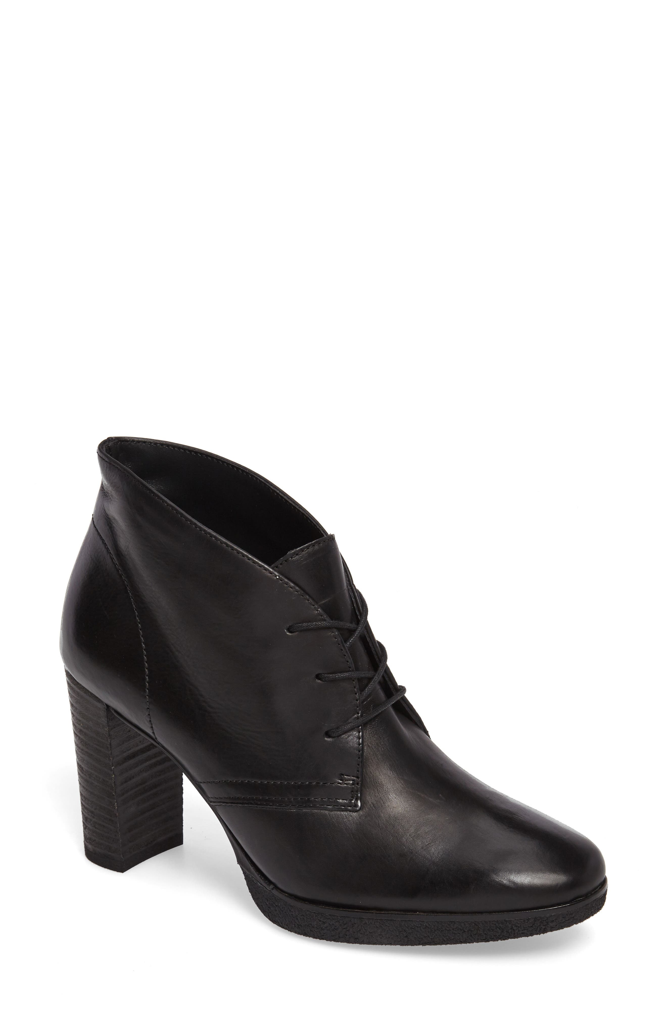 Ophelia Lace-Up Bootie,                             Main thumbnail 1, color,                             Black Leather