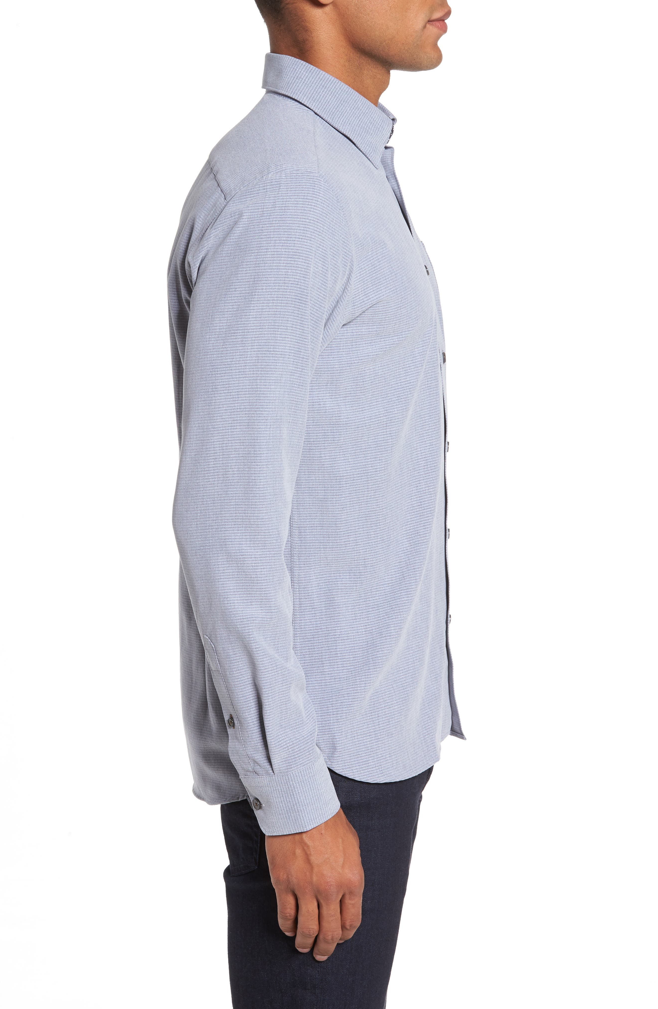 Mettro Slim Fit Horizontal Stripe Sport Shirt,                             Alternate thumbnail 3, color,                             Grey