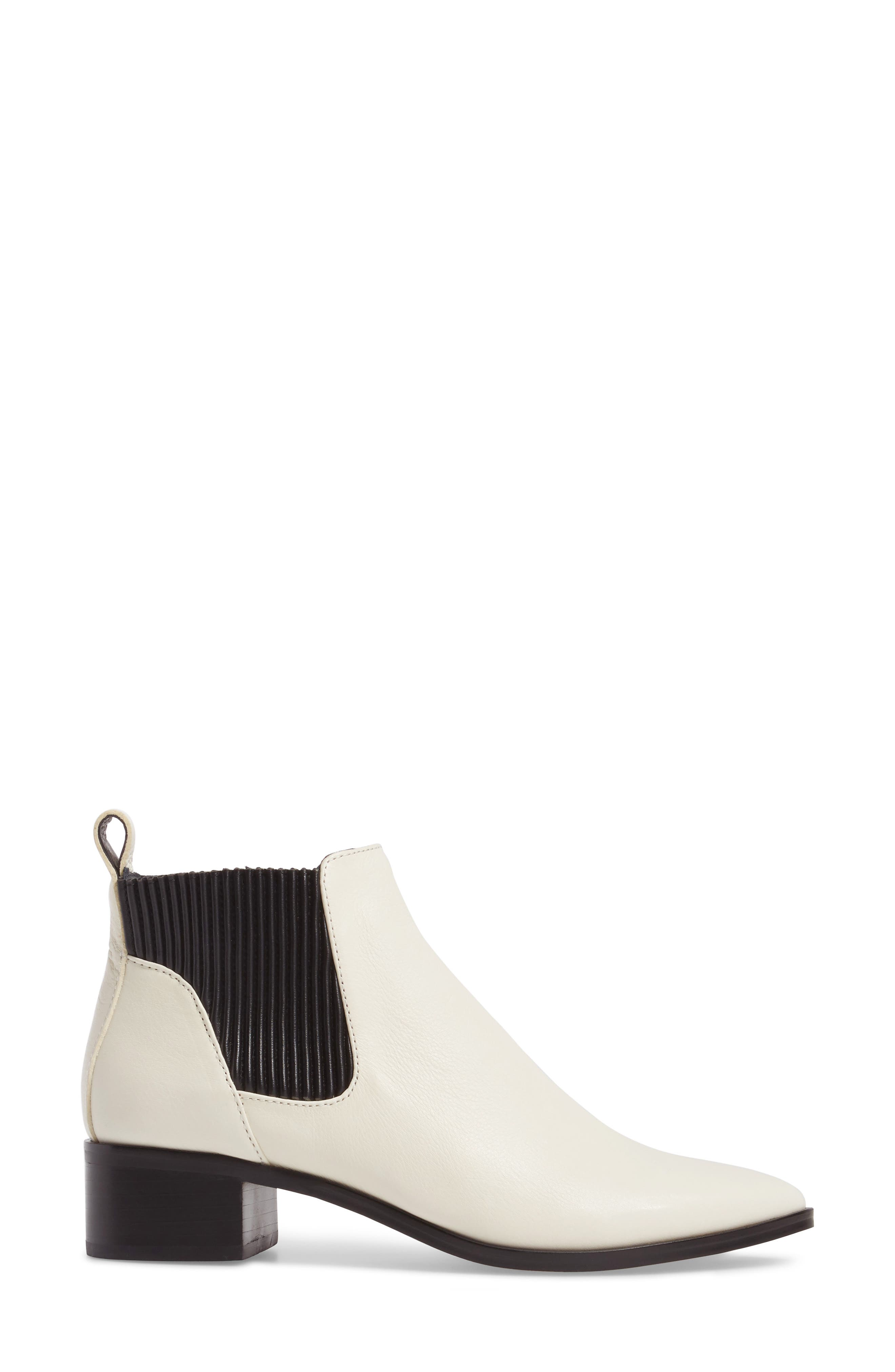 Macie Pointy Toe Chelsea Bootie,                             Alternate thumbnail 3, color,                             Off White Lea