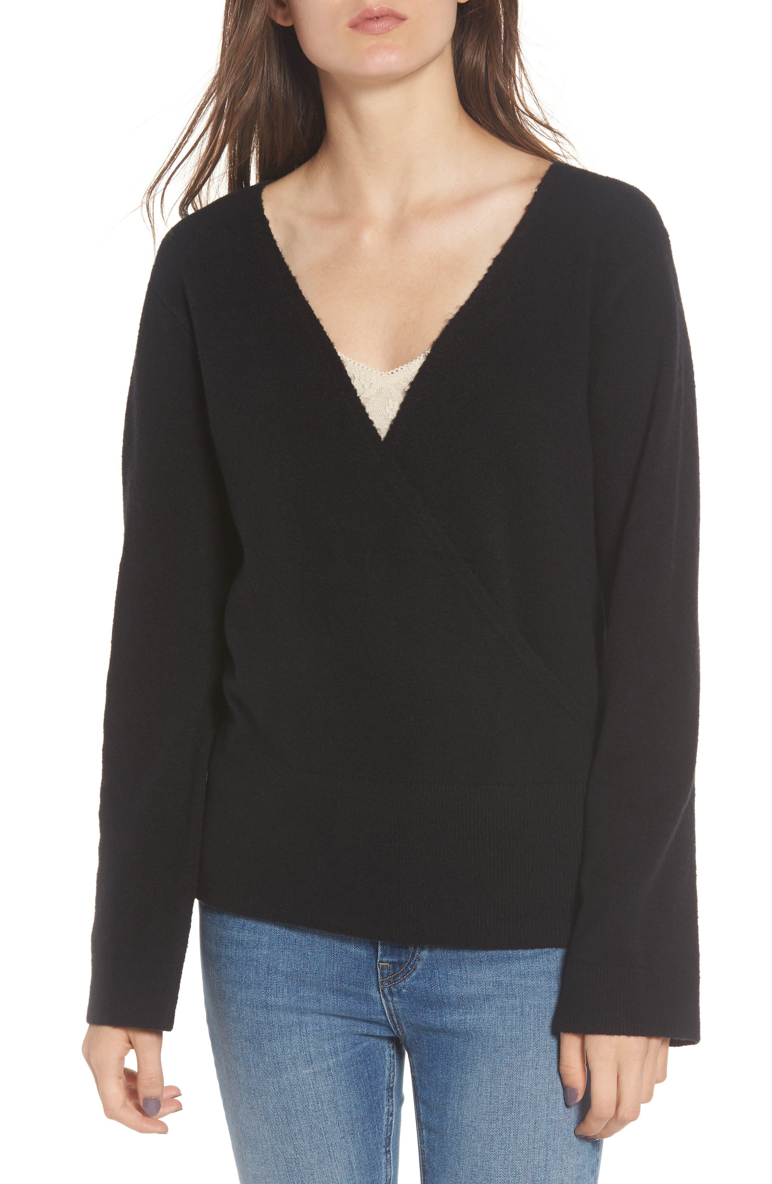 Hinge Faux Wrap Sweater