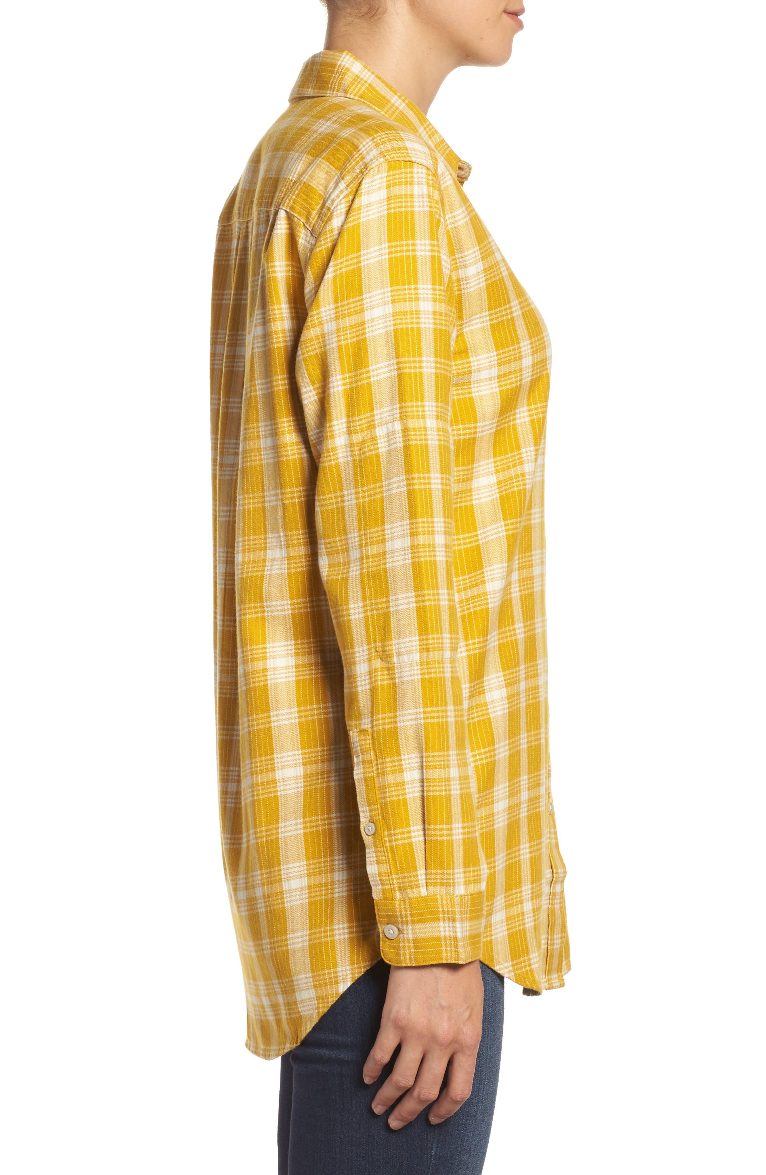 Boyfriend Shirt,                             Alternate thumbnail 3, color,                             Arrowwood Yellow Plaid