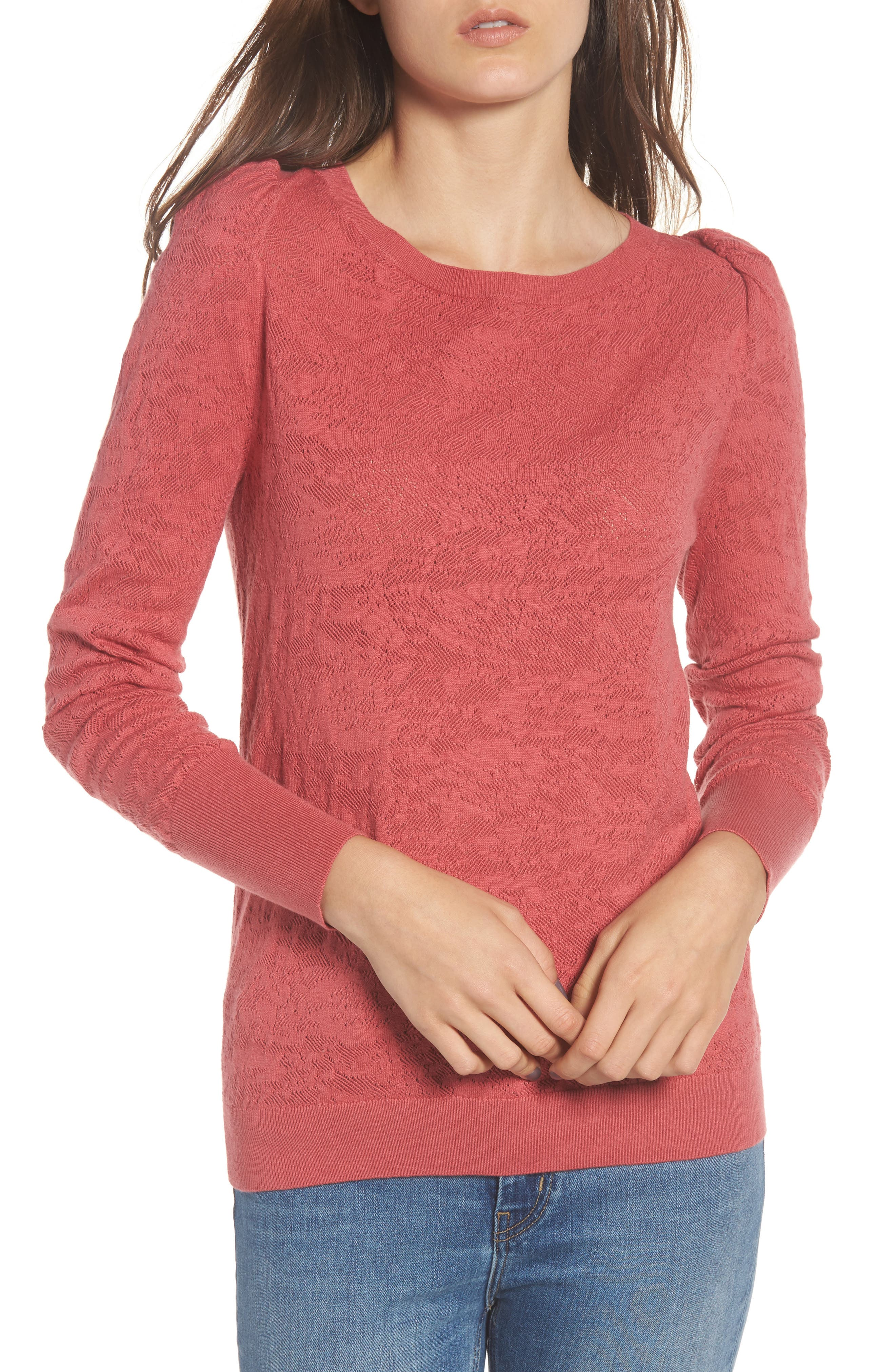 Puff Sleeve Pullover,                         Main,                         color, Red Baroque