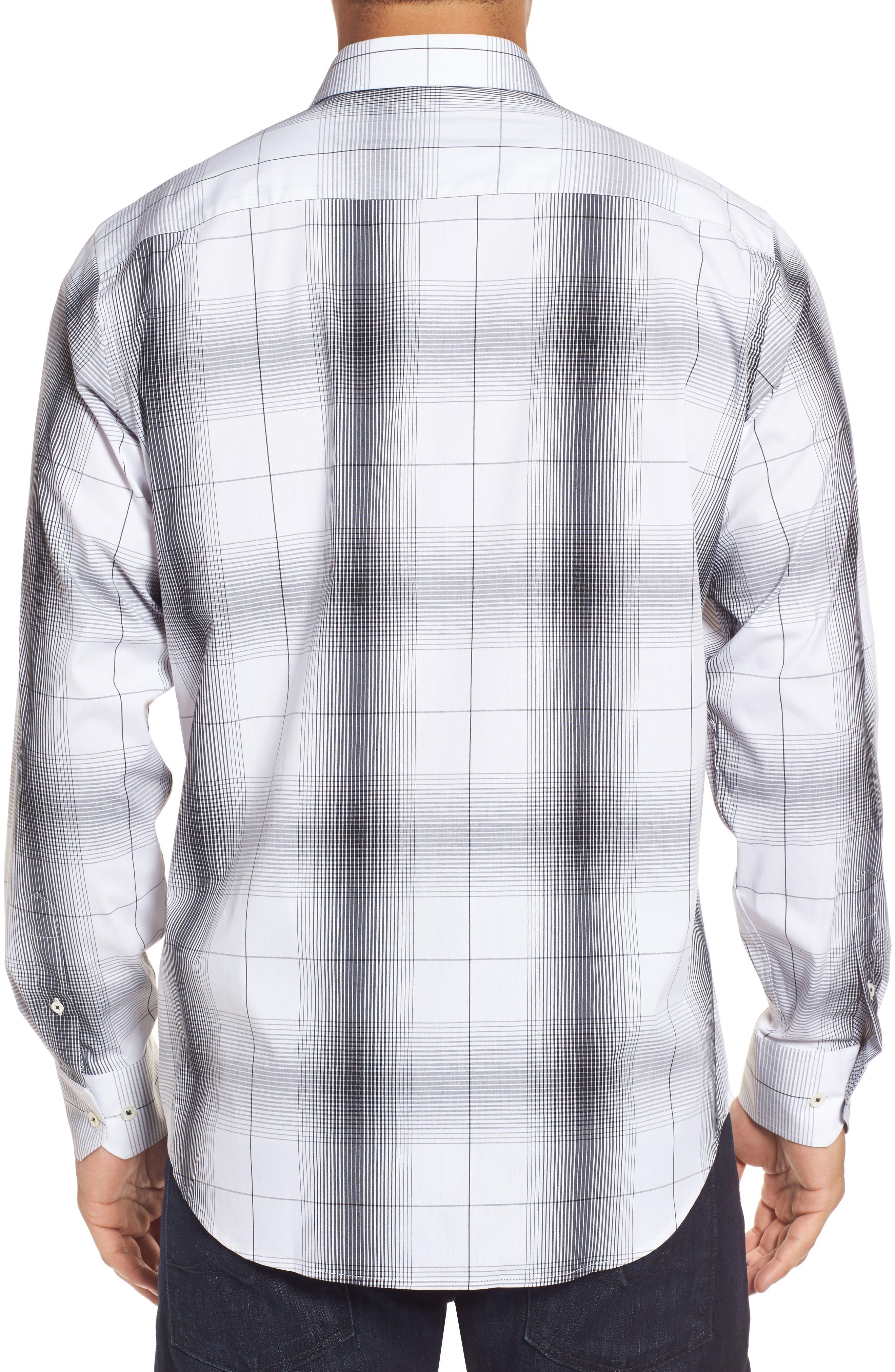 Alternate Image 2  - Bugatchi Classic Fit Ombré Plaid Sport Shirt