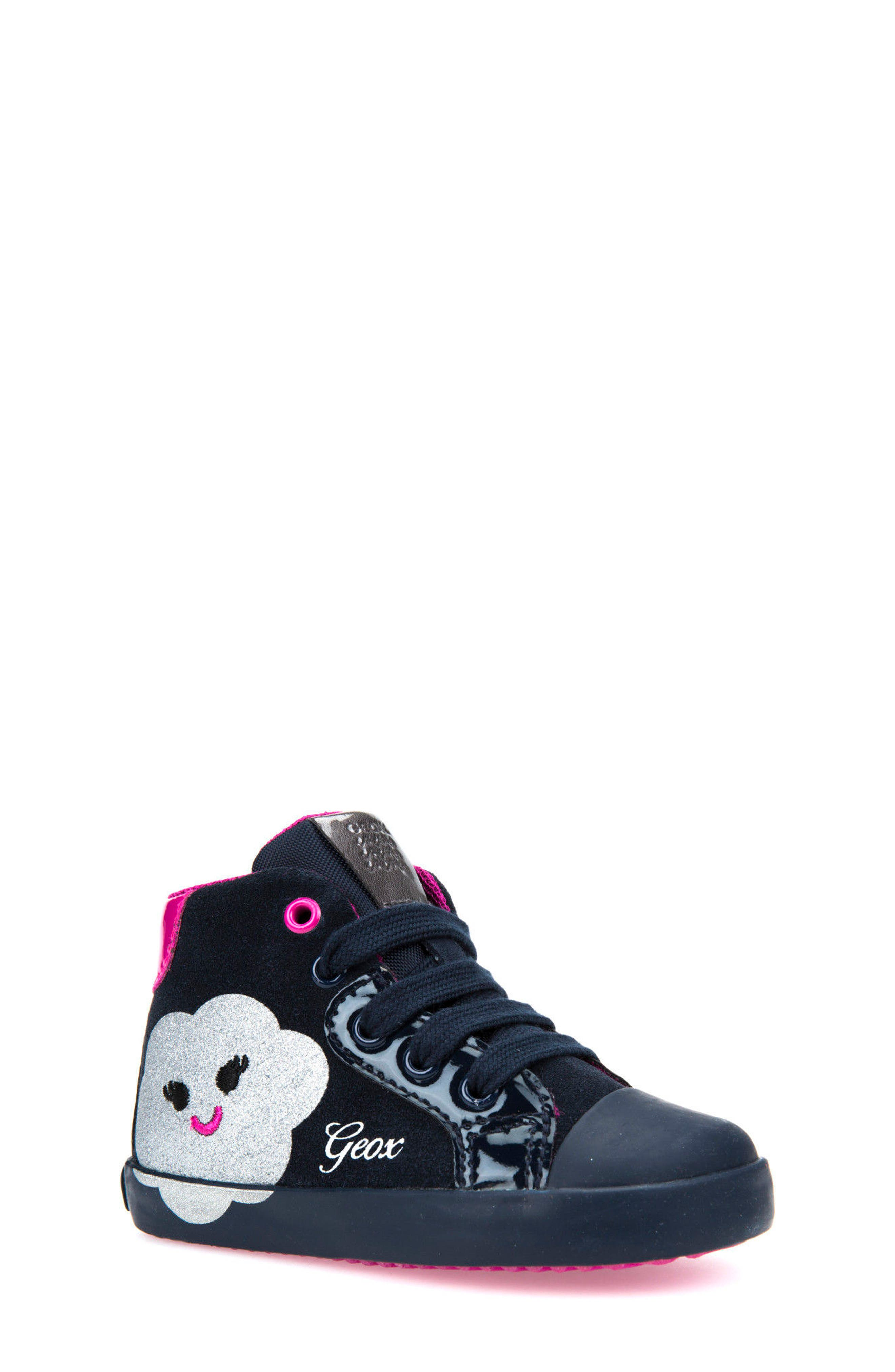 Kiwi Girl Glitter Heart Mid-Top,                         Main,                         color, Navy/ Silver