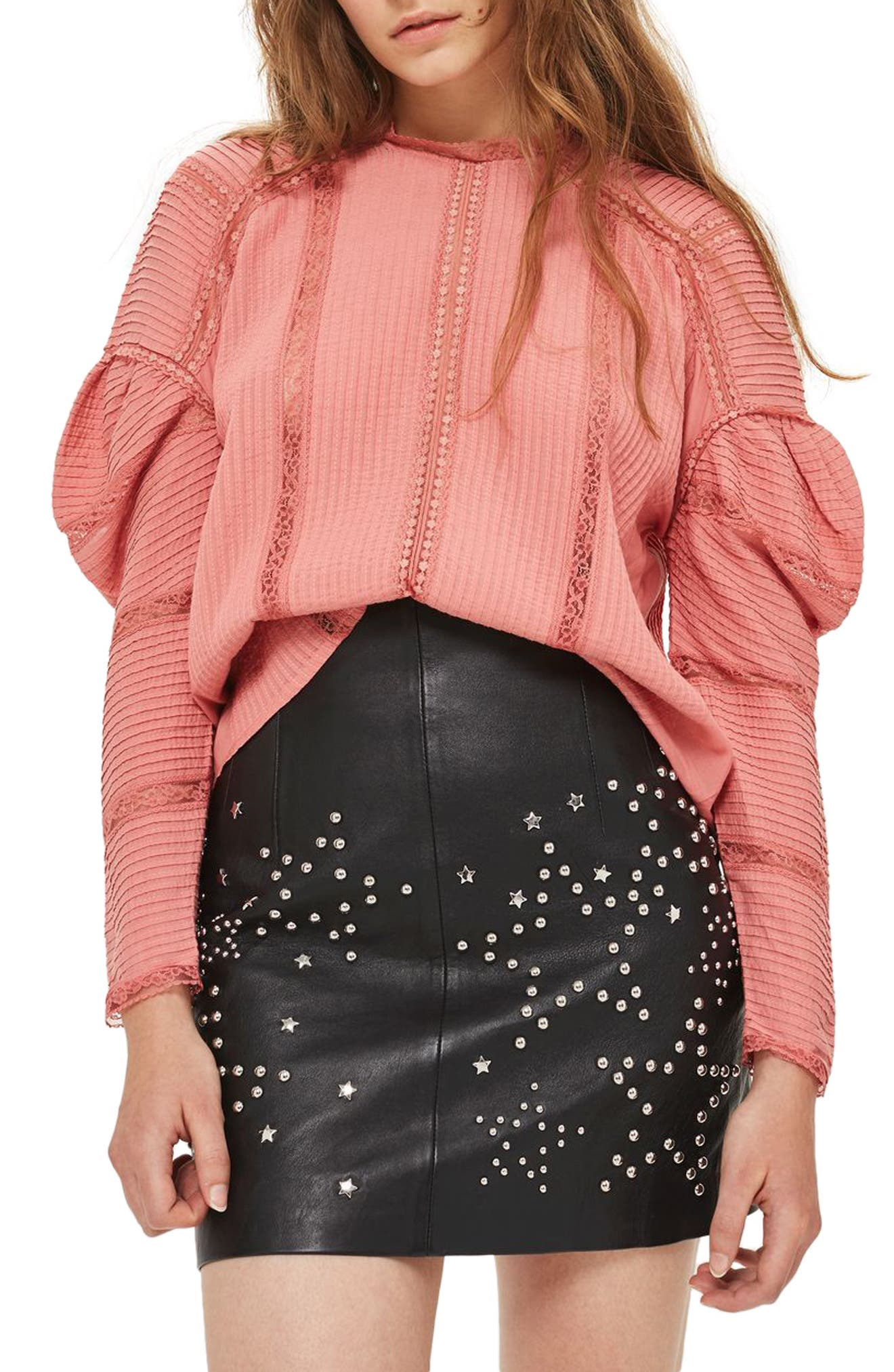 Topshop Statement Sleeve Pintuck Blouse