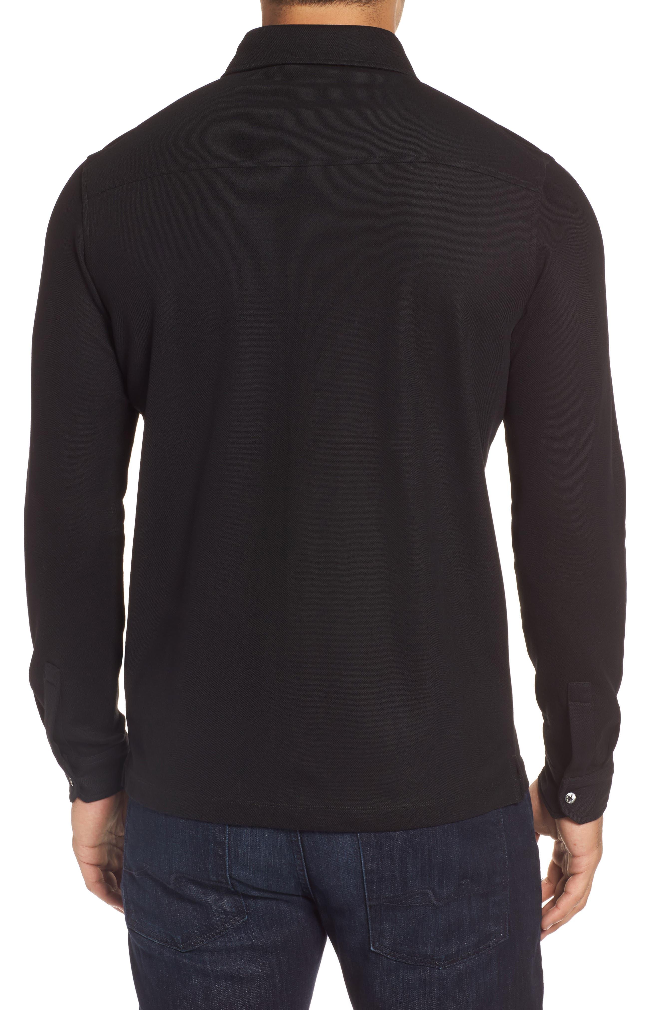 Classic Fit Piqué Knit Shirt,                             Alternate thumbnail 2, color,                             Black