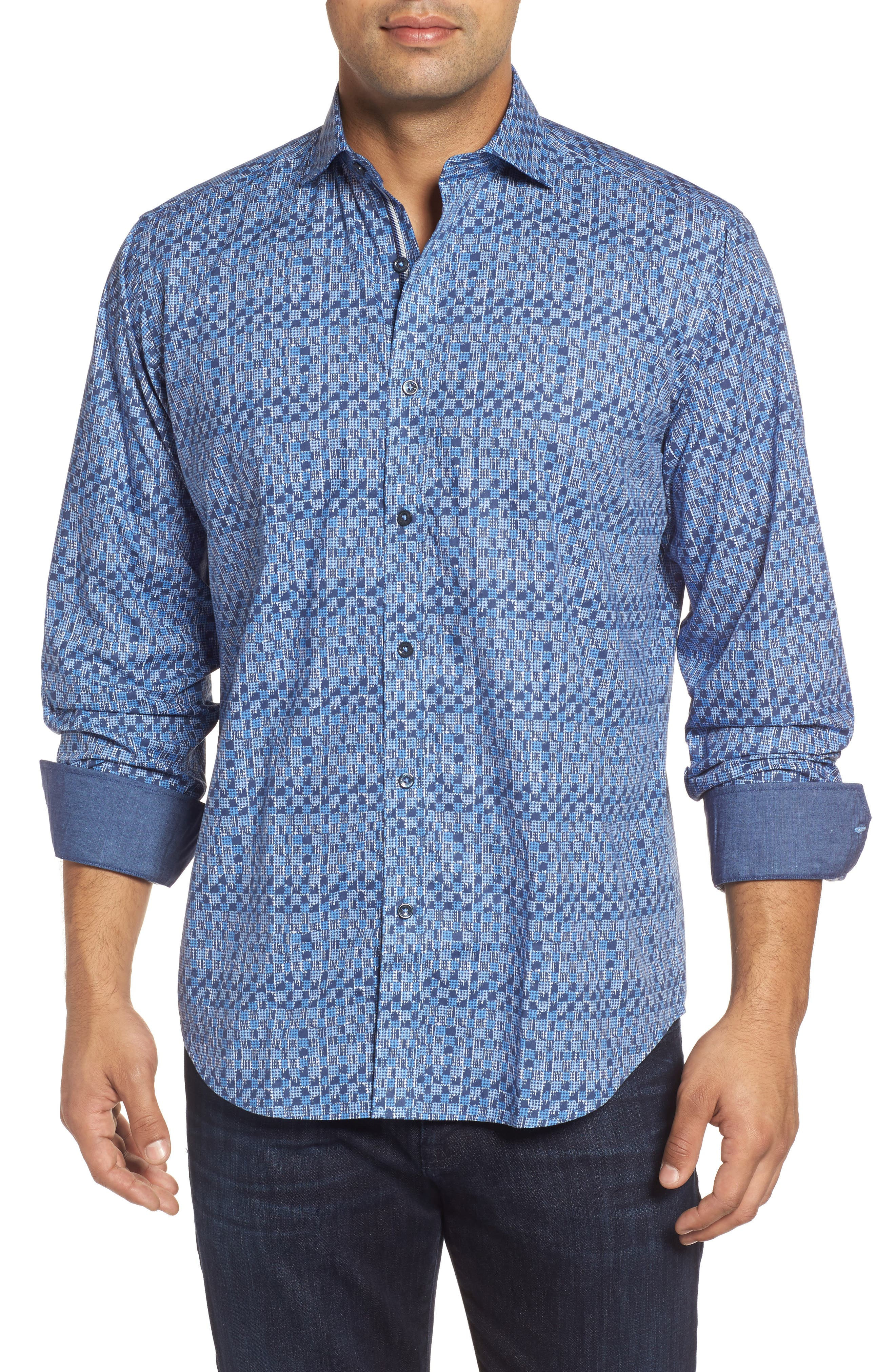 Classic Fit Pattern Sport Shirt,                         Main,                         color, Navy