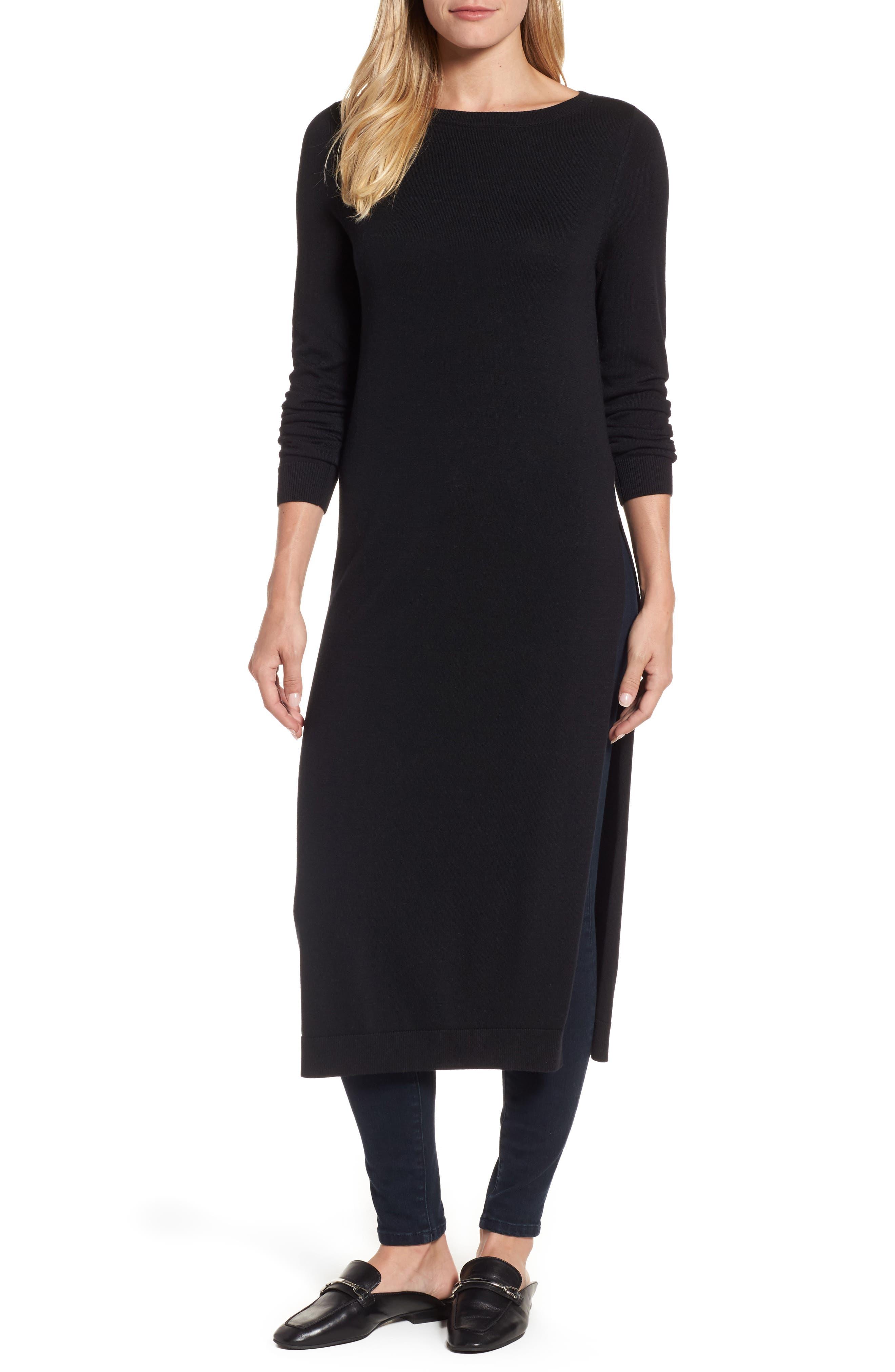 Side Slit Tunic Sweater,                         Main,                         color, Black